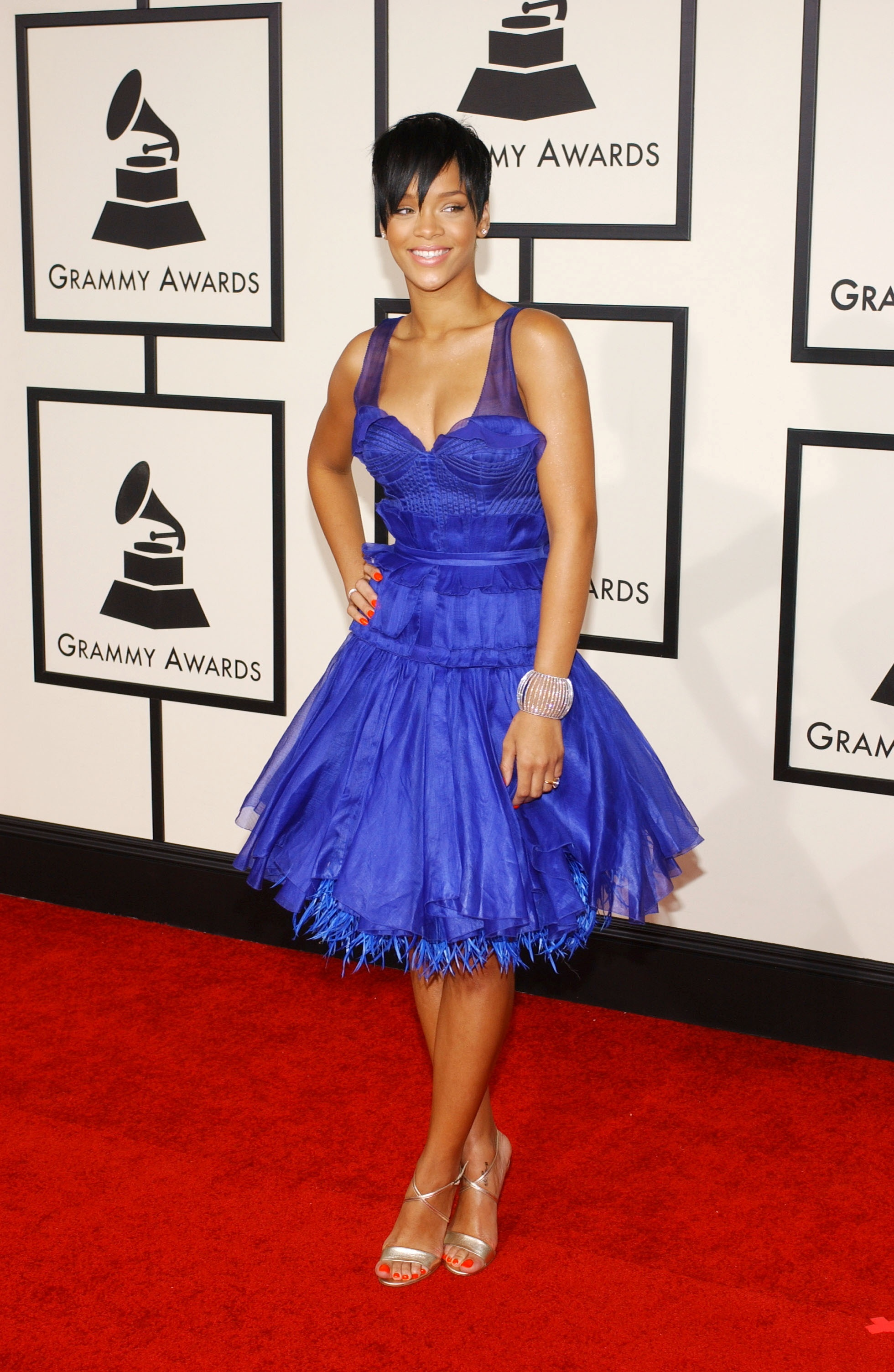 Rihanna attends the 50th Annual Grammy Awards at Staples Center in Los Angeles on Feb. 10, 2008.