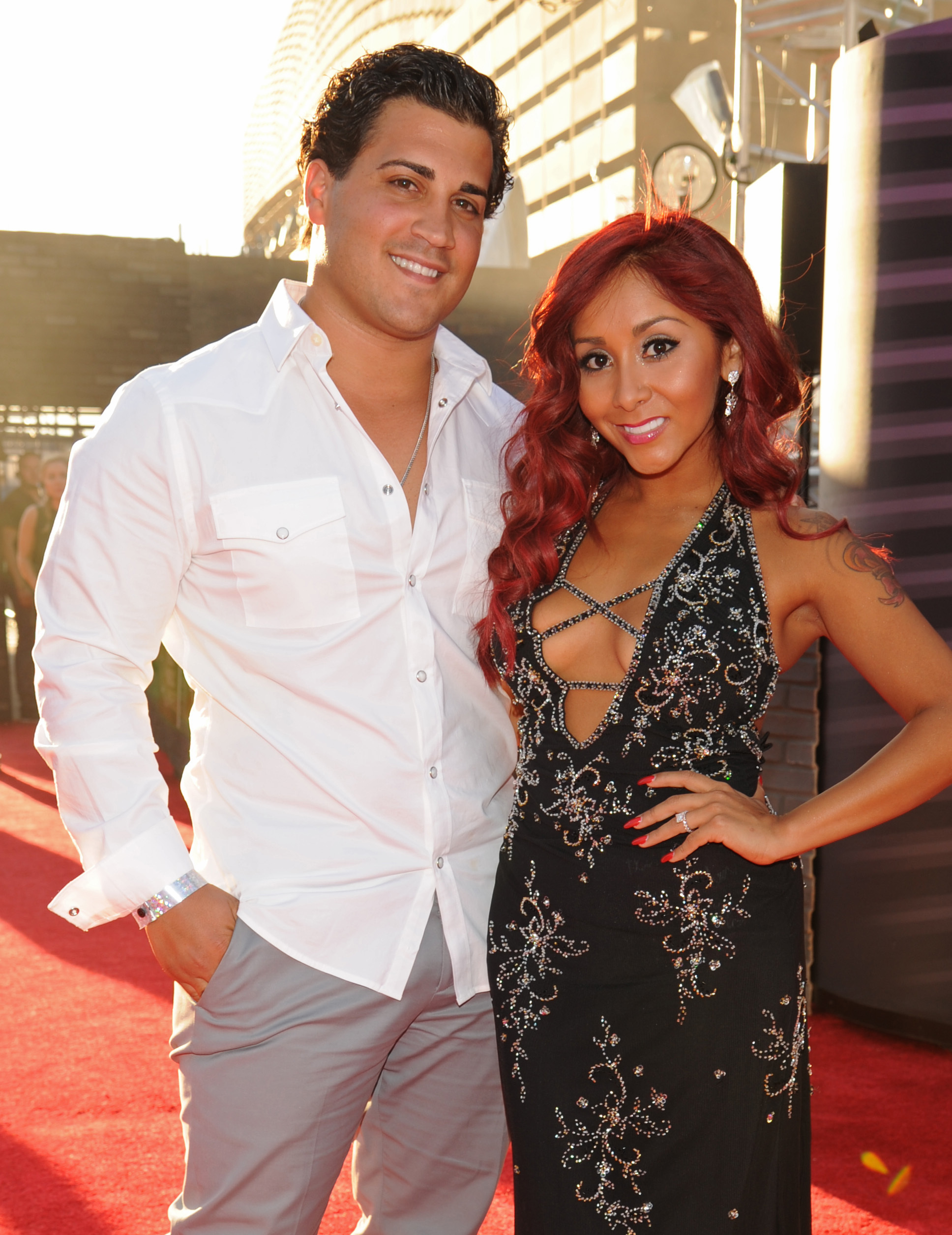 "Nicole ""Snooki"" Polizzi and Jionni LaValle attend the MTV Video Music Awards in New York City on Aug. 25, 2013."