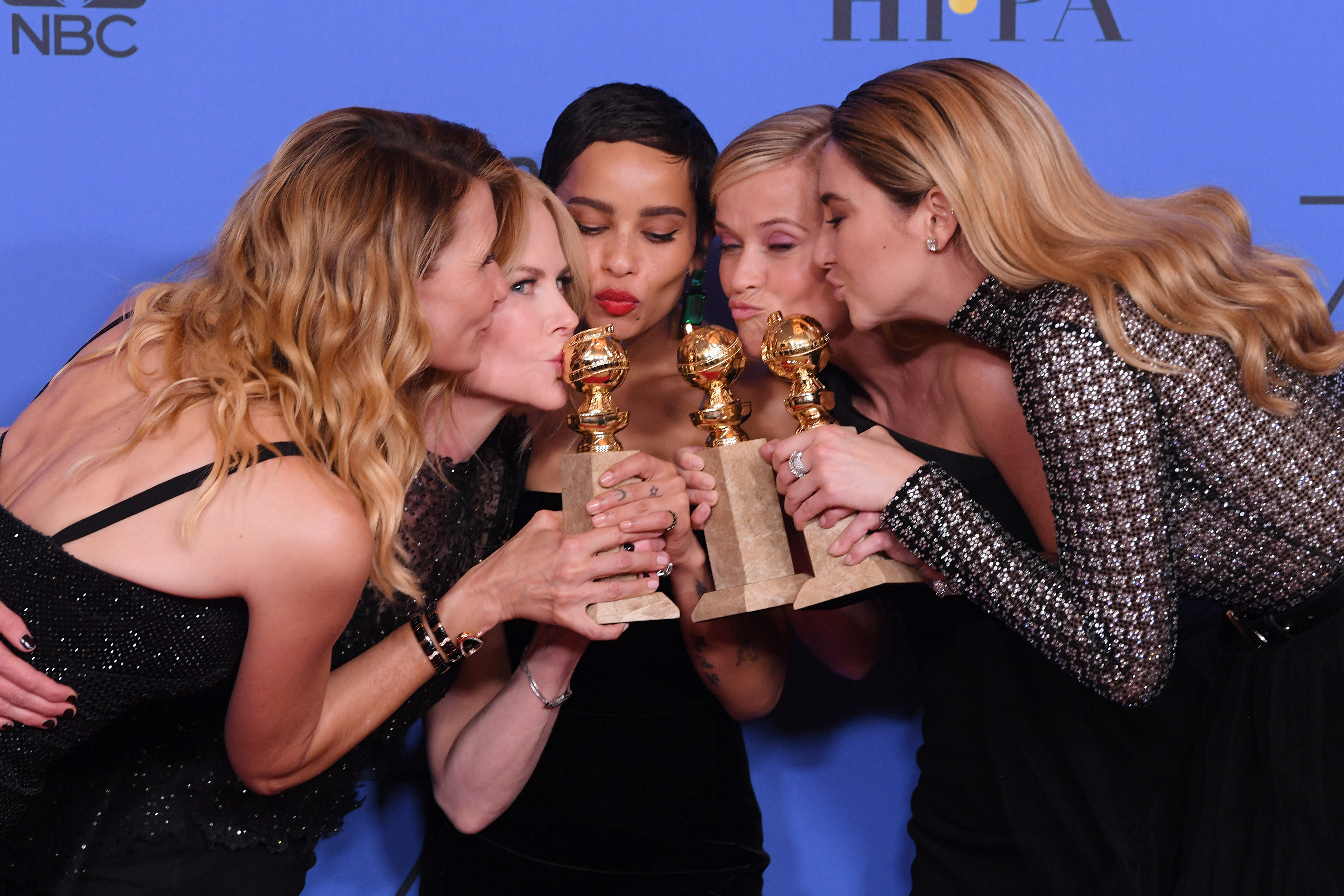 Laura Dern, Nicole Kidman, Zoe Kravitz, Reese Witherspoon and Shailene Woodley posed together at the Golden Globes in Beverky Hills on Jan. 7, 2018.