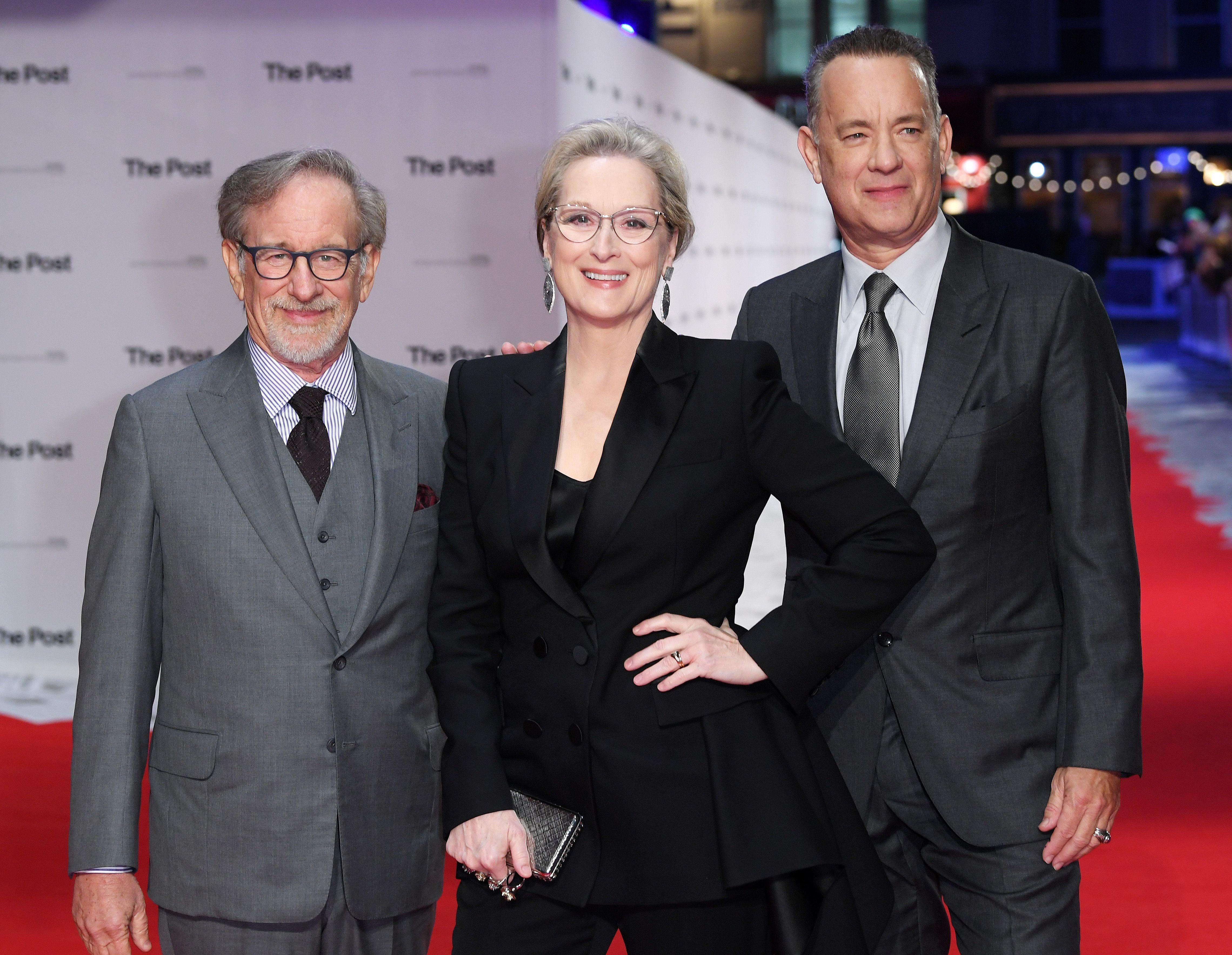 "Steven Spielberg, Meryl Streep and Tom Hanks attend ""The Post"" film premiere in London on Jan. 10, 2018."