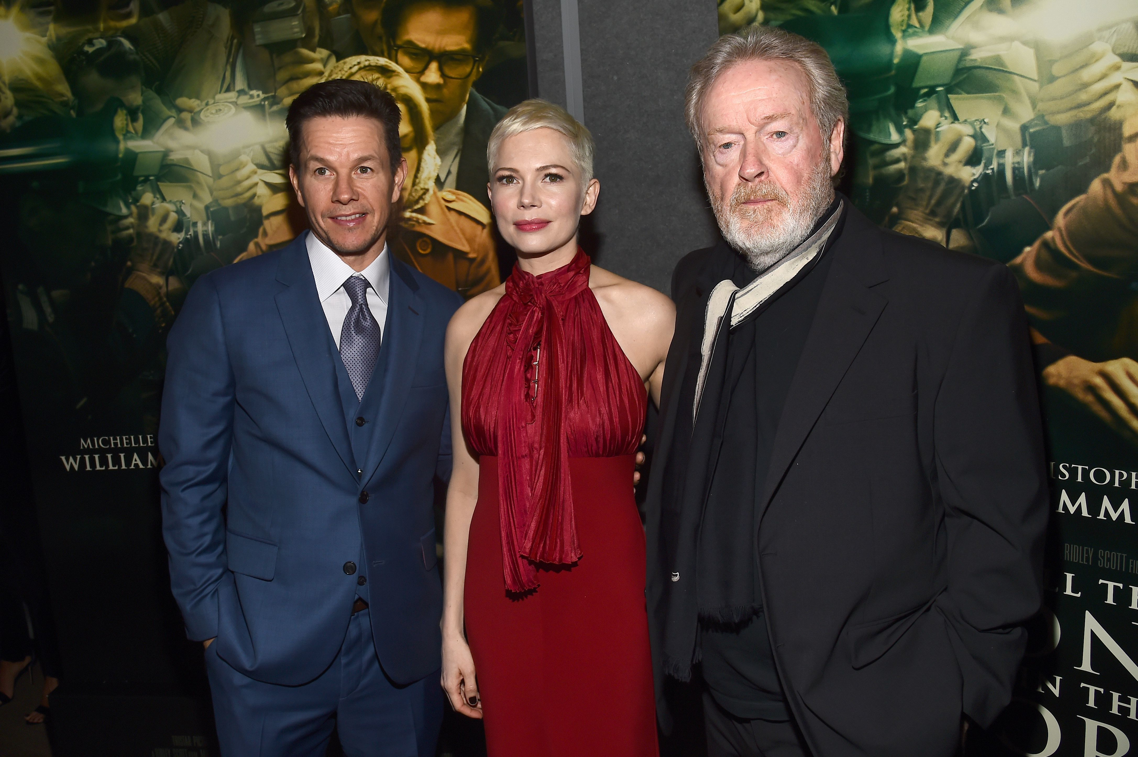 "Mark Wahlberg, Michelle Williams and Ridley Scott attend the ""All the Money in the World"" film premiere in Los Angeles on Dec. 18, 2017."