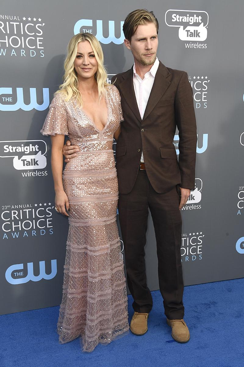 Kaley Cuoco and Karl Cook attend The 23rd Annual Critics' Choice Awards at Barker Hangar in Santa Monica, California, on Jan. 11, 2018.