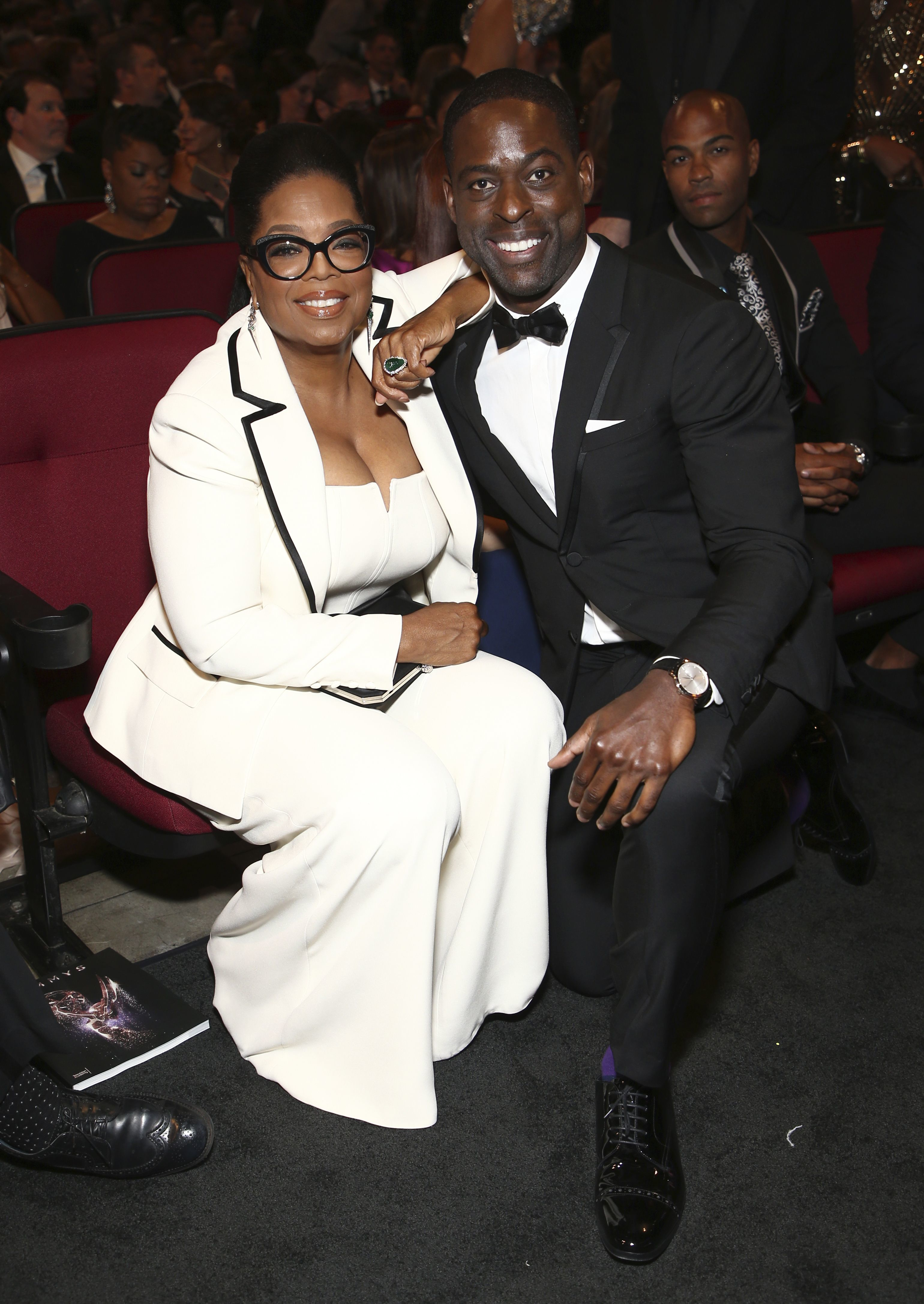 Oprah Winfrey and  Sterling K. Brown attend the 69th Primetime Emmy Awards in Los Angeles on Sept. 17, 2017.