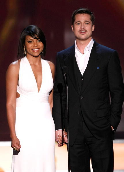 Presenters Taraji P. Henson and Brad Pitt speak during the 15th Annual Screen Actors Guild Awards held at the Shrine Auditorium in Los Angeles on Jan. 25, 2009.