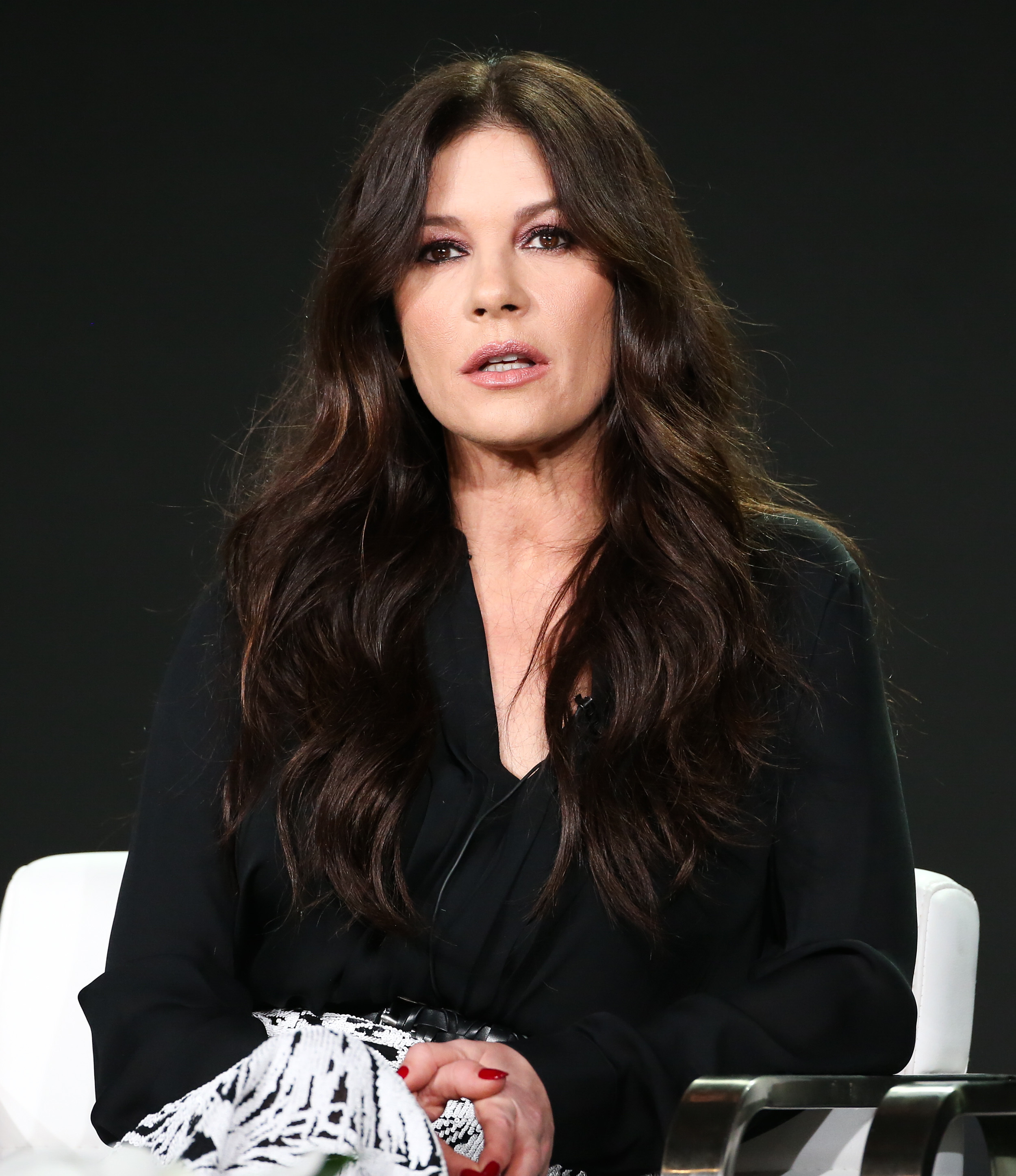 """Catherine Zeta Jones appears at the Lifetime """"Cocaine Godmother: The Griselda Blanco Story"""" TV show panel during the TCA Winter Press Tour in Los Angeles on Jan. 14, 2018."""