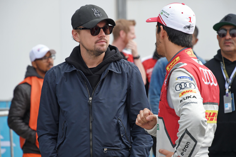 Leonardo DiCaprio and Lucas di Grassi attend the ABB FIA Formula E Marrakech E Prix in Marrakech, Morocco, on Jan. 13, 2018.