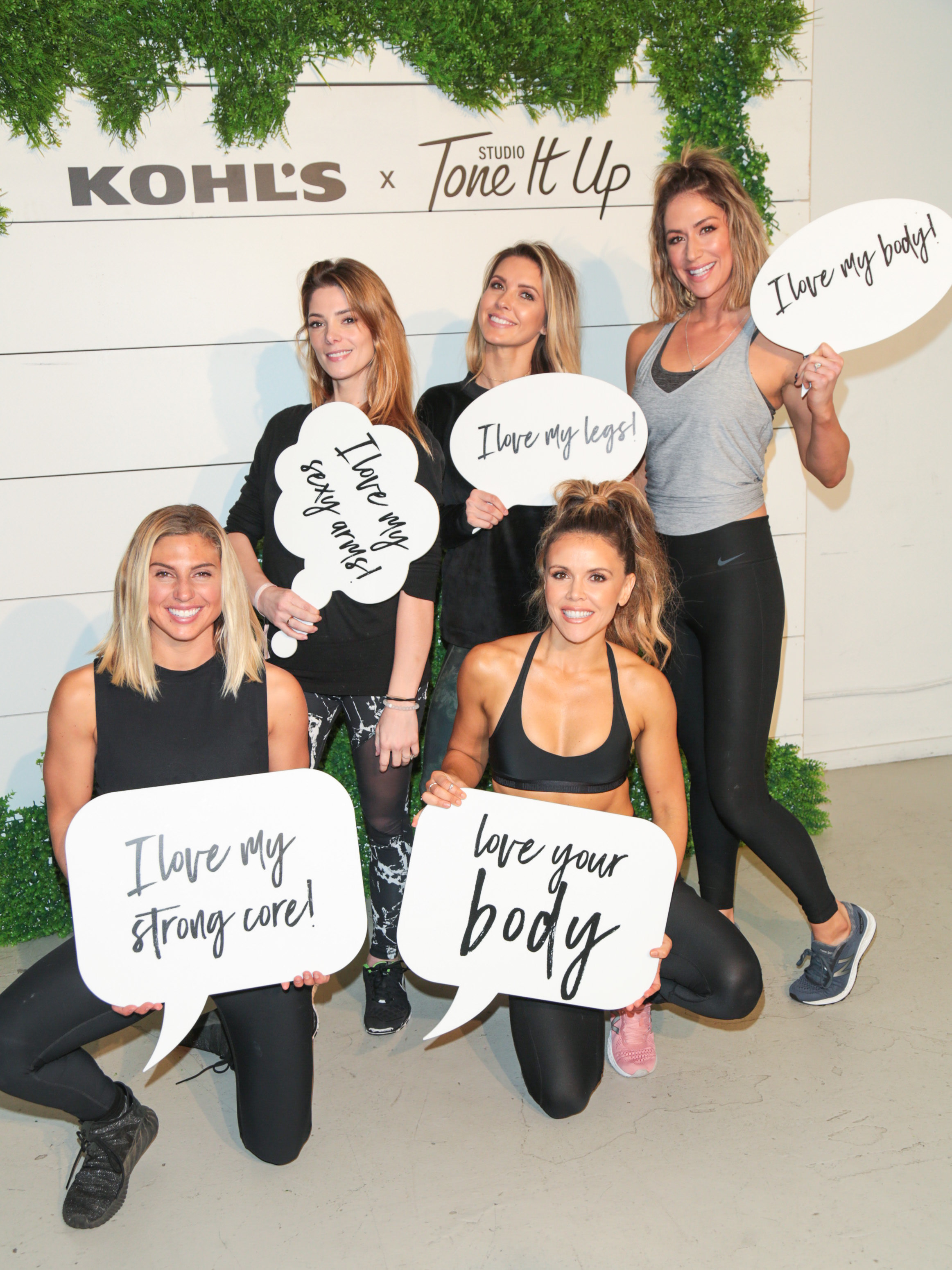 Sage Erickson, Ashley Greene, Katrina Hodgson, Audrina Patridge and  Karena Dawn appear at the Kohl's x Studio Tone It Up event in Los Angeles on Jan. 14, 2018.