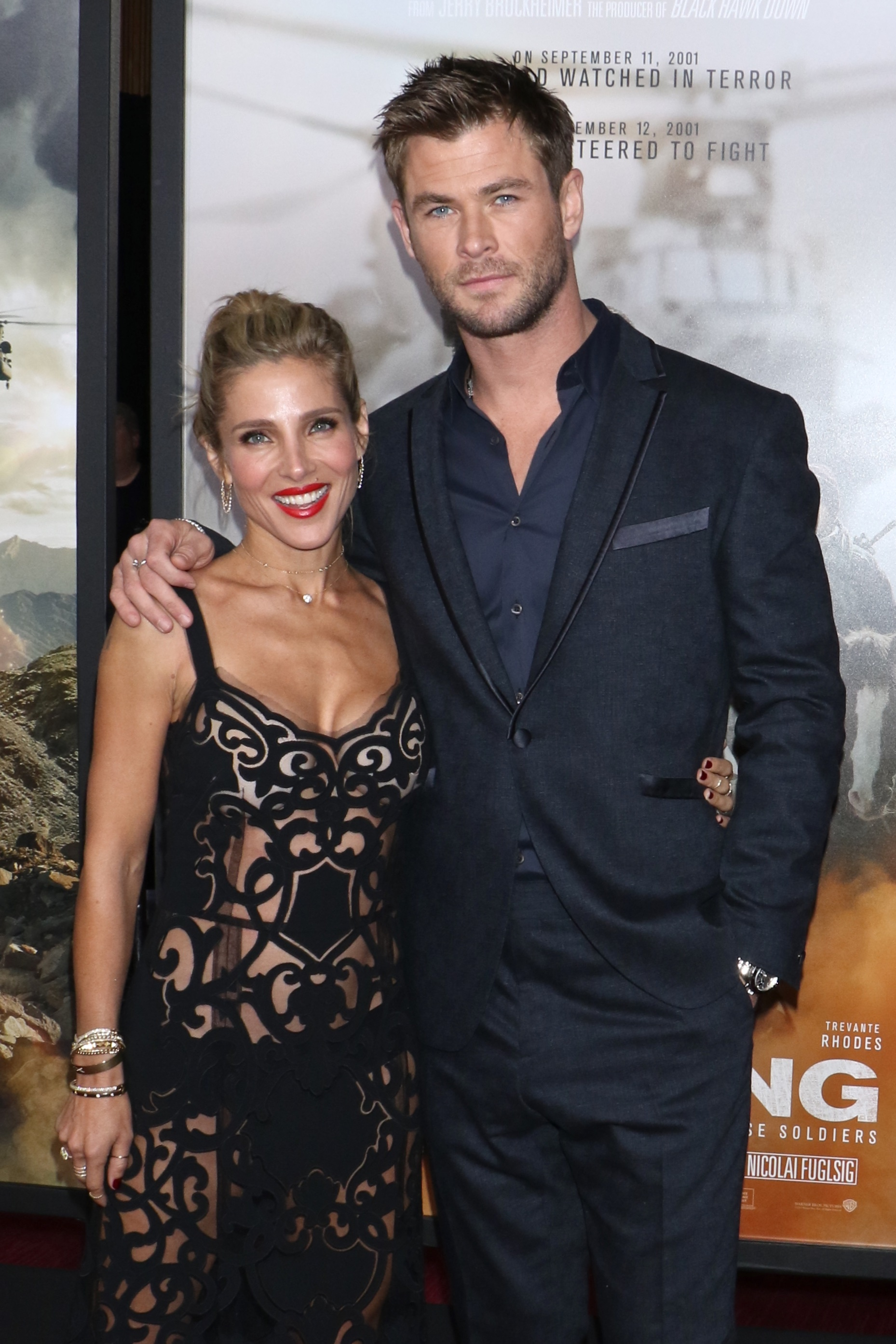"""Elsa Pataky and Chris Hemsworth attend the """"12 Strong"""" film premiere in New York City on Jan. 16, 2018."""