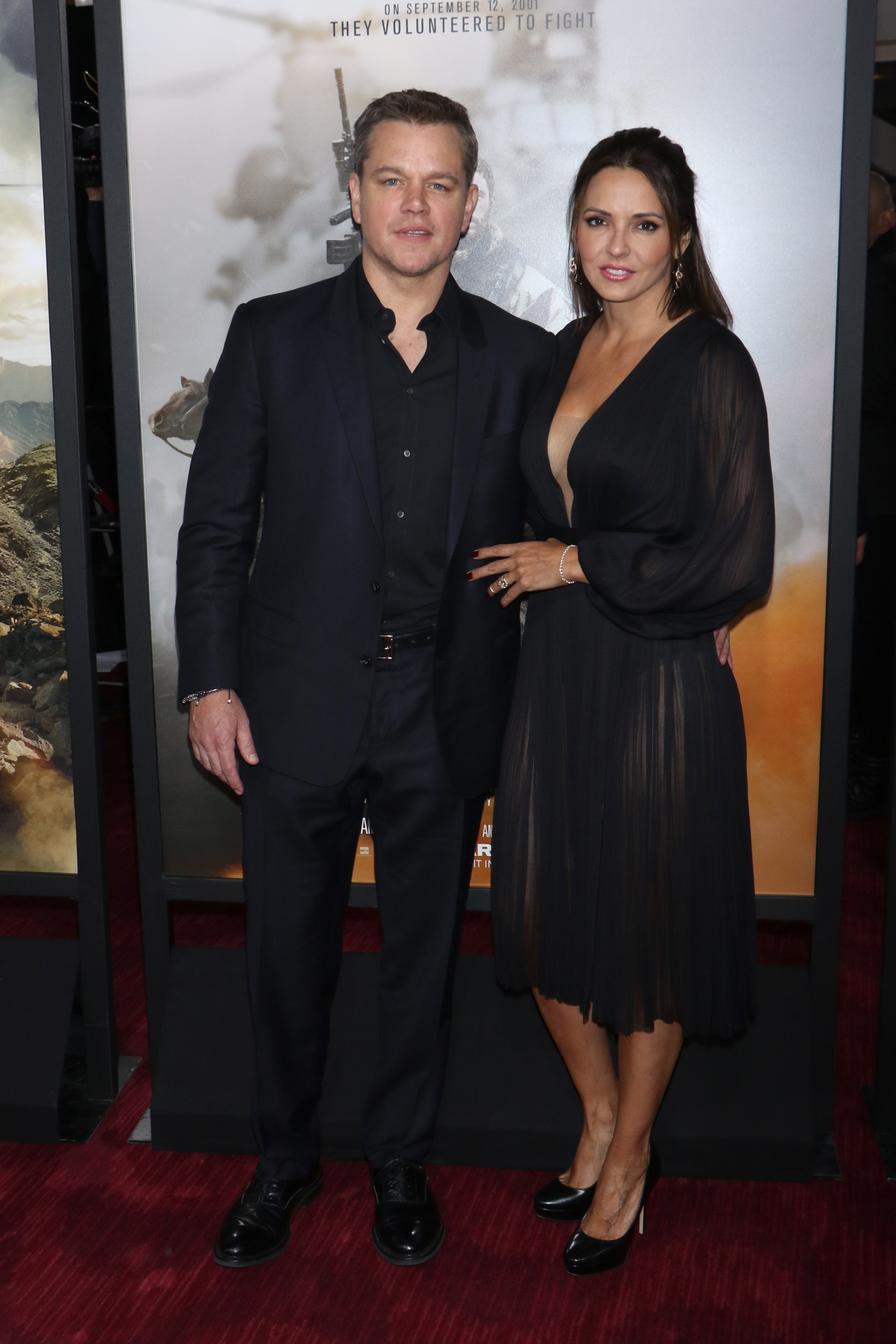 """Matt Damon and Luciana Damon attend the """"12 Strong"""" film premiere in New York City on Jan. 16, 2018."""