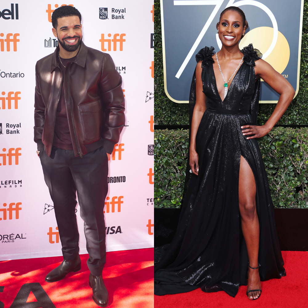 "Drake attends the 42nd Toronto International Film Festival premiere of ""The Carter Effect"" on Sept. 9, 2017. Issa Rae attends the Golden Globe Awards in Beverly Hills on Jan. 7, 2018."