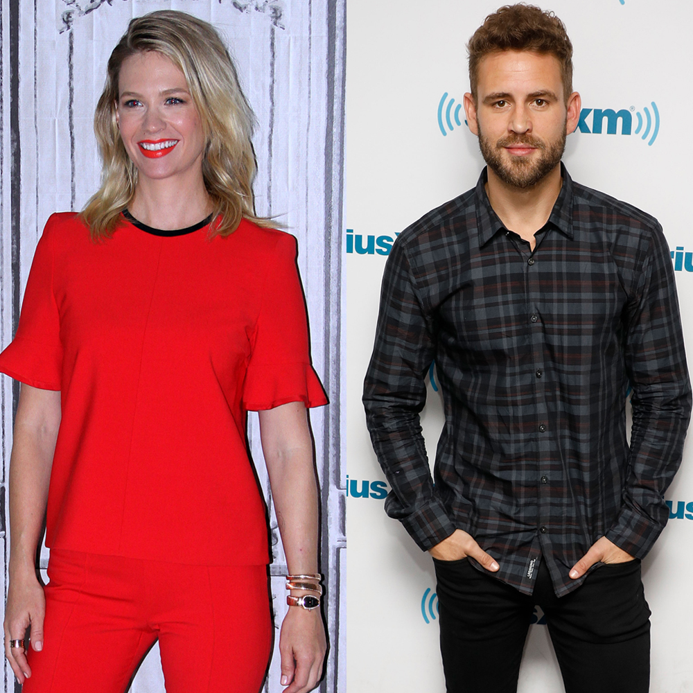 January Jones participates in the AOL BUILD Series at AOL HQ in New York City on Sept. 28, 2016. Nick Viall visits the SiriusXM Studios in New York City on Feb. 8, 2017.