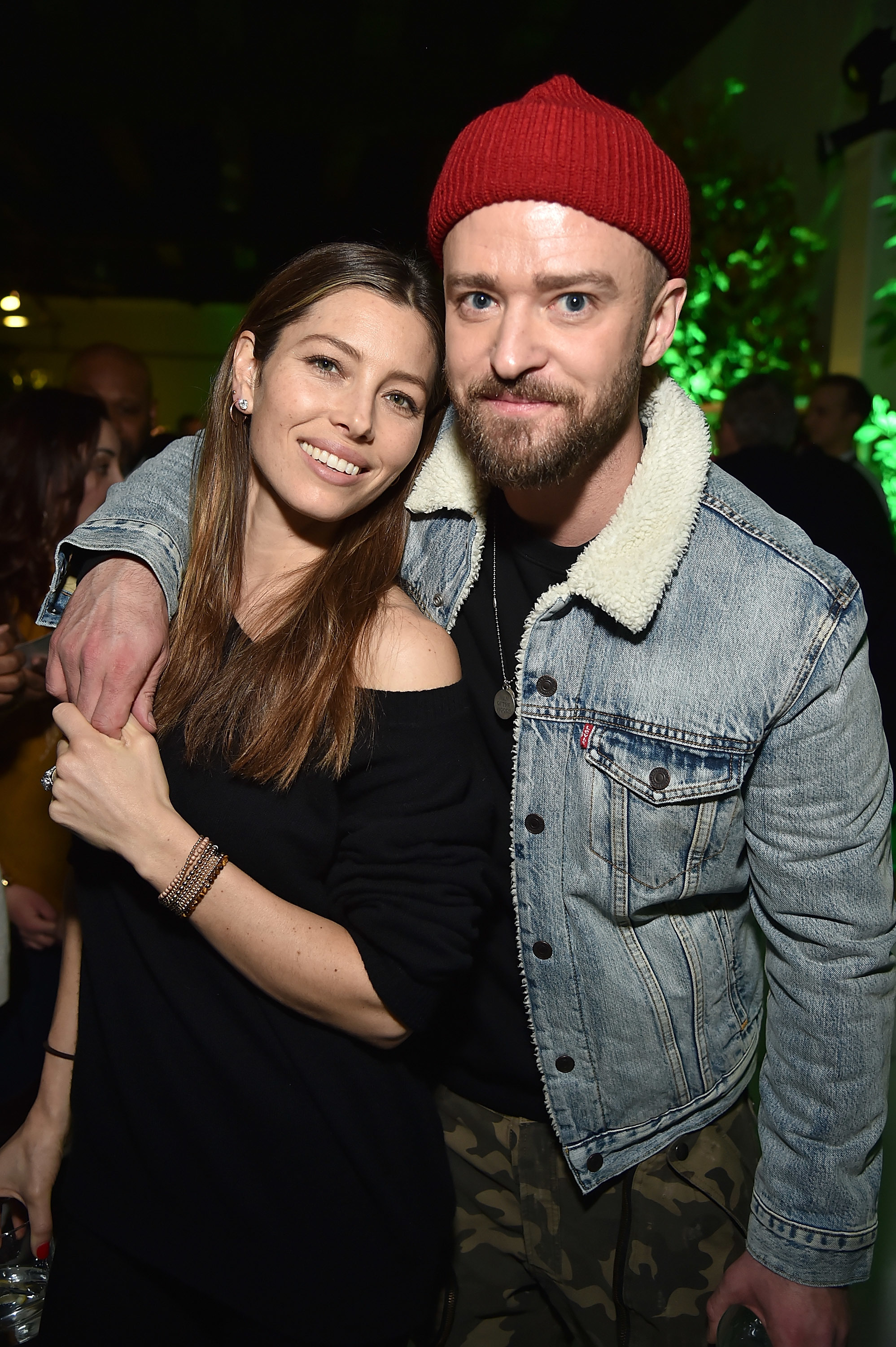 "Jessica Biel and Justin Timberlake attend  American Express x Justin Timberlake ""Man Of The Woods"" listening session at Skylight Clarkson Sq in New York City on Jan. 17, 2018."
