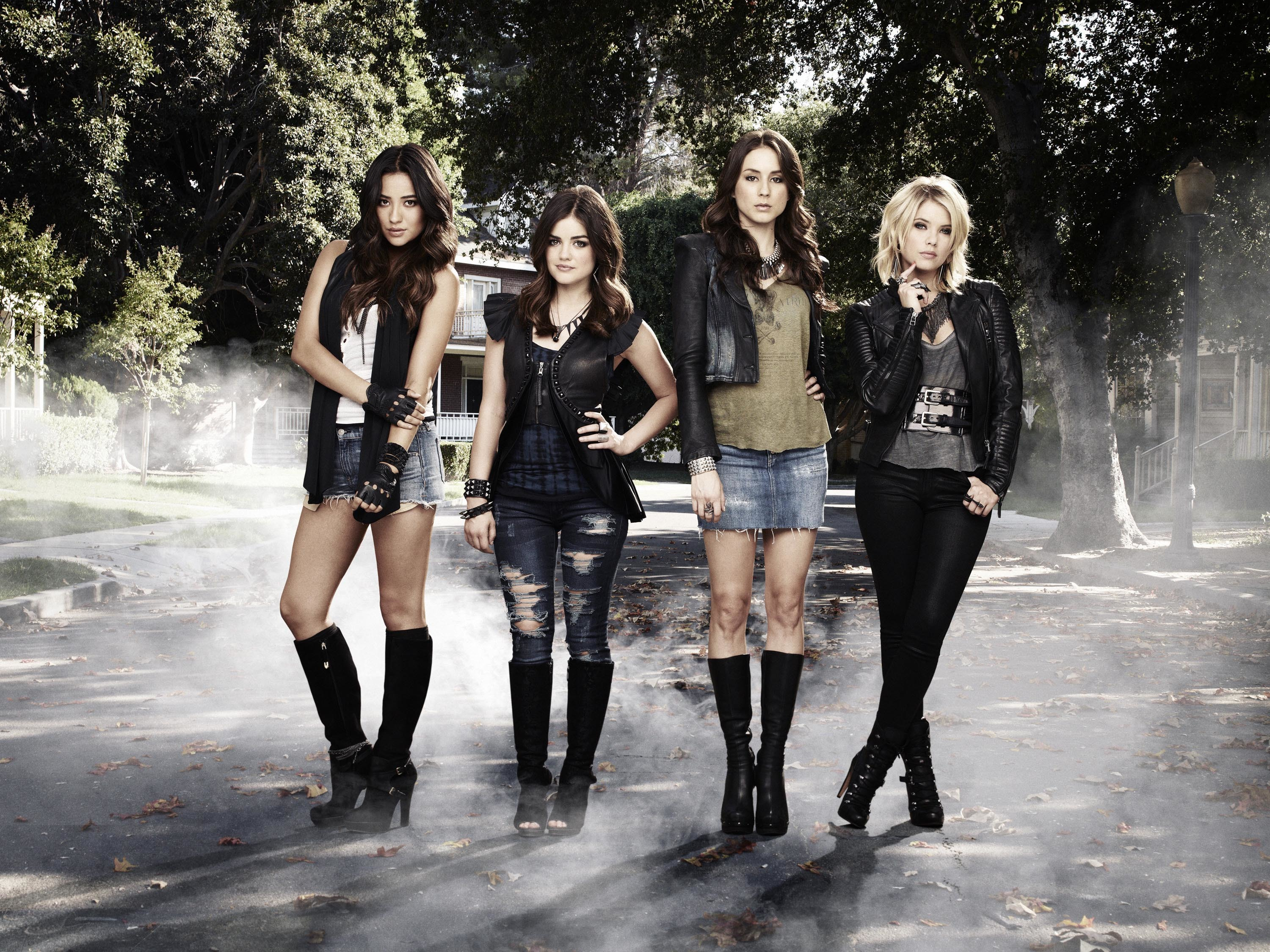 """Shay Mitchell, Lucy Hale, Troian Bellisario and Ashley Benson appear in a promotional photo for ABC Family's """"Pretty Little Liars,"""" which debuted in 2010."""