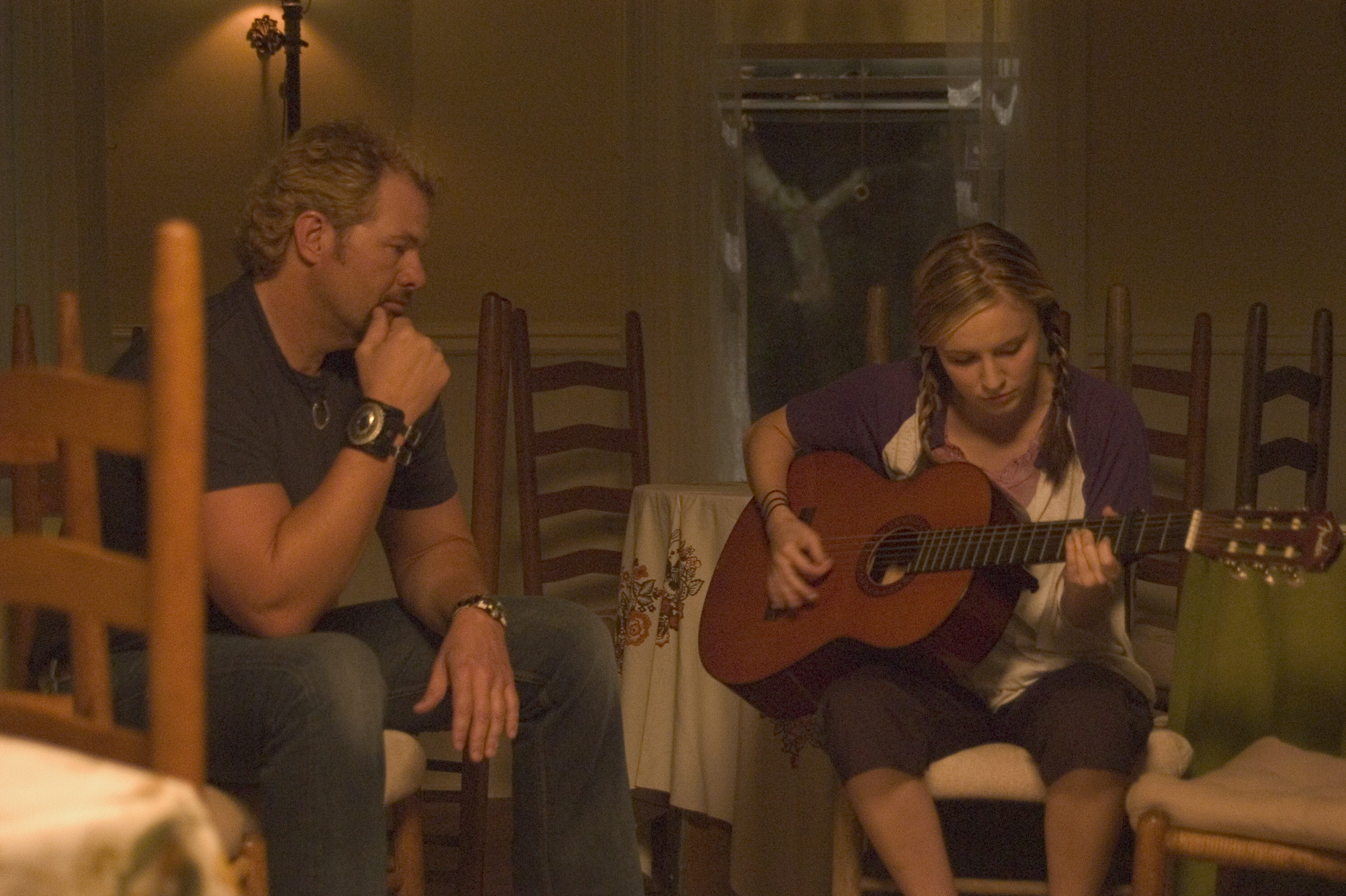"""Toby Keith and Lindsey Haun are shown on the set of """"Broken Bridges"""" in 2006."""