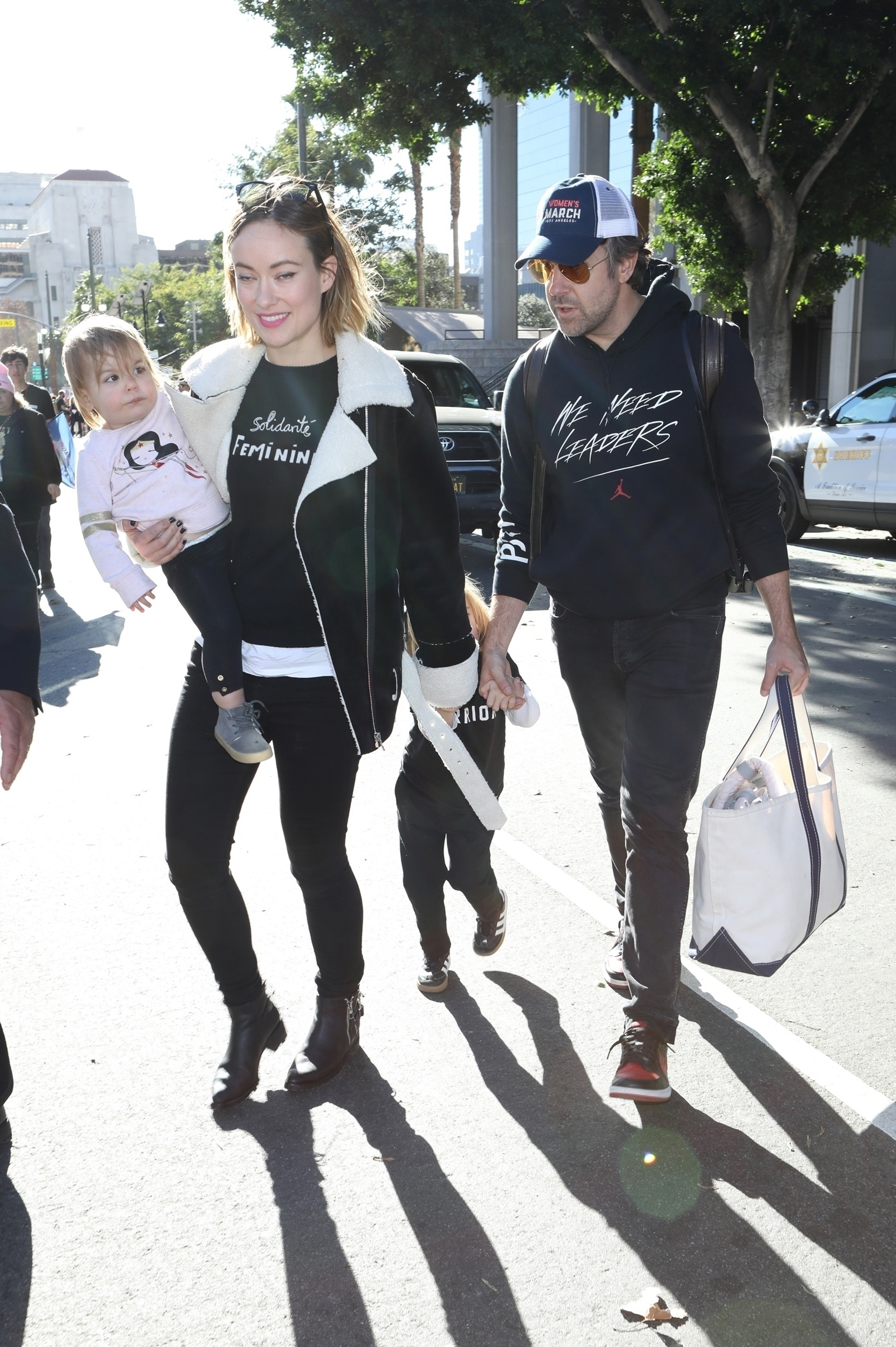 Olivia Wilde attends the 2018 LA Women's March with her family in Los Angeles on Jan. 20, 2018.