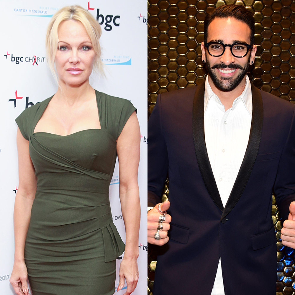 Pamela Anderson attends the Annual Charity Day event hosted by Cantor Fitzgerald, BGC Partners and GFI in New York City on Sept. 11, 2017. Adil Rami attends the Crystal Globe Awards in Paris on Jan. 30, 2017.
