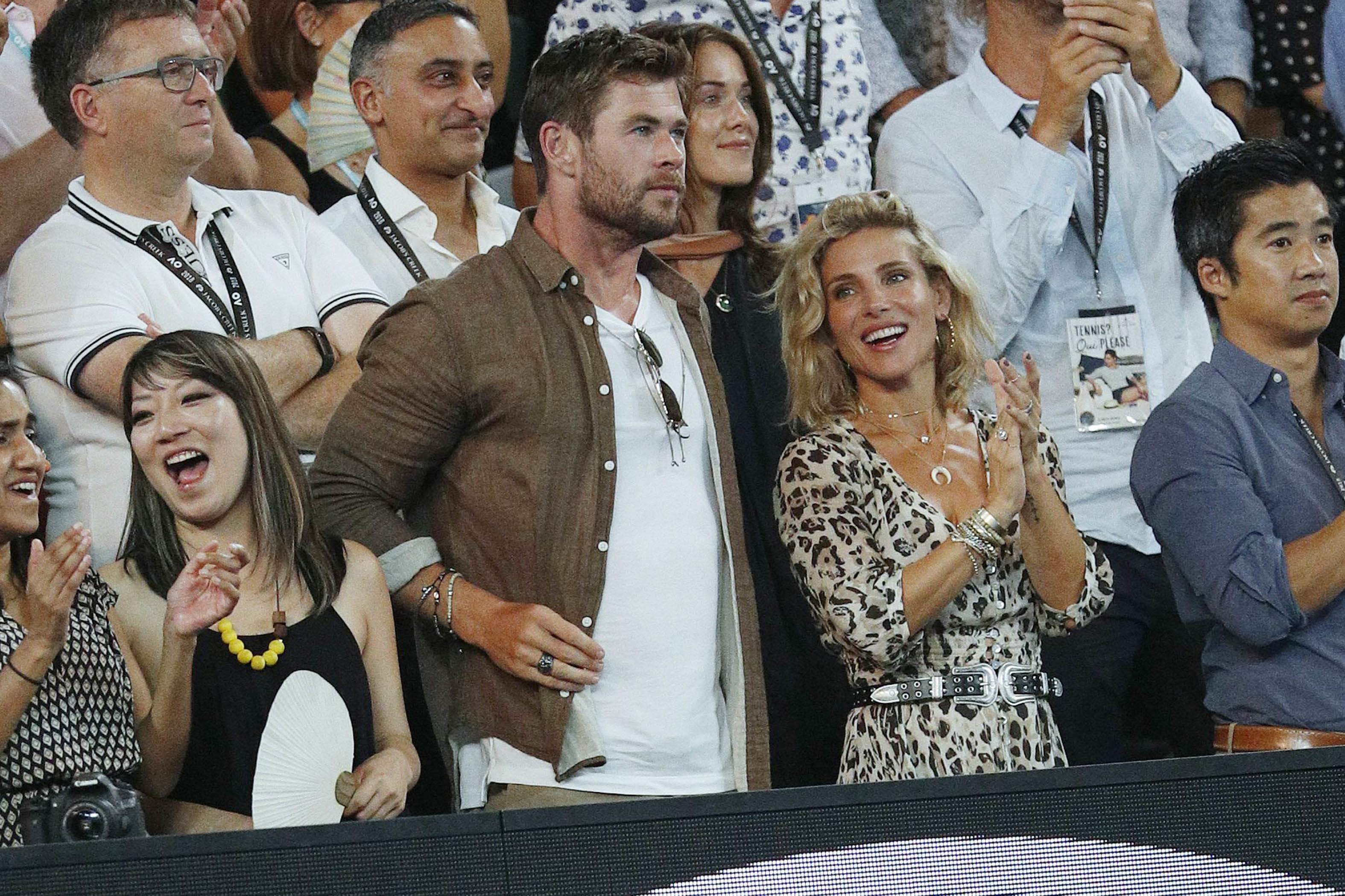 Chris Hemsworth and Elsa Pataky attend the Australian Open in Melbourne on Jan.  28, 2018.
