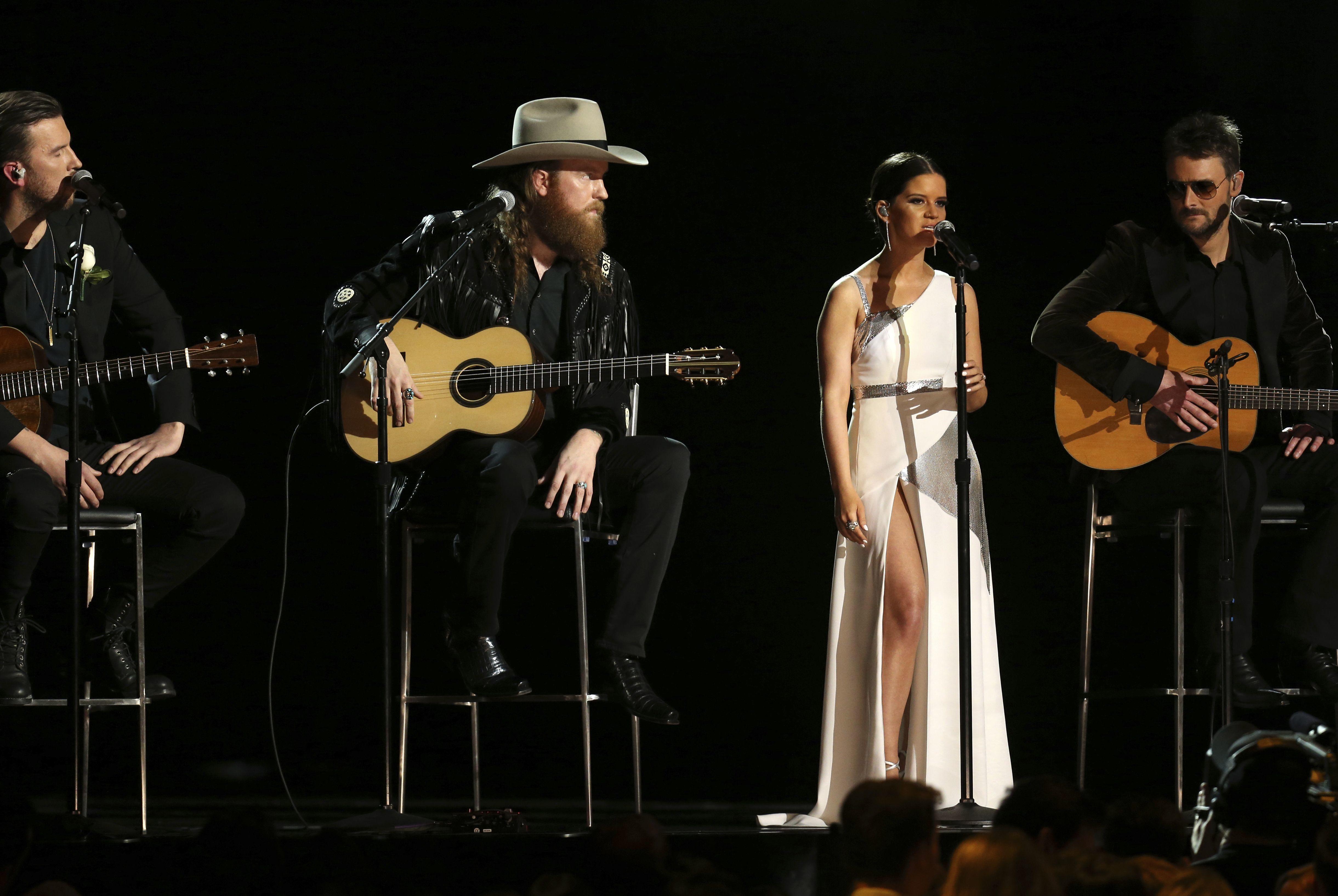 "T.J. Osborne, John Osborne, Maren Morris and Eric Church perform ""Tears In Heaven"" at the 60th Annual Grammy Awards at Madison Square Garden in New York City on Jan. 28, 2018."
