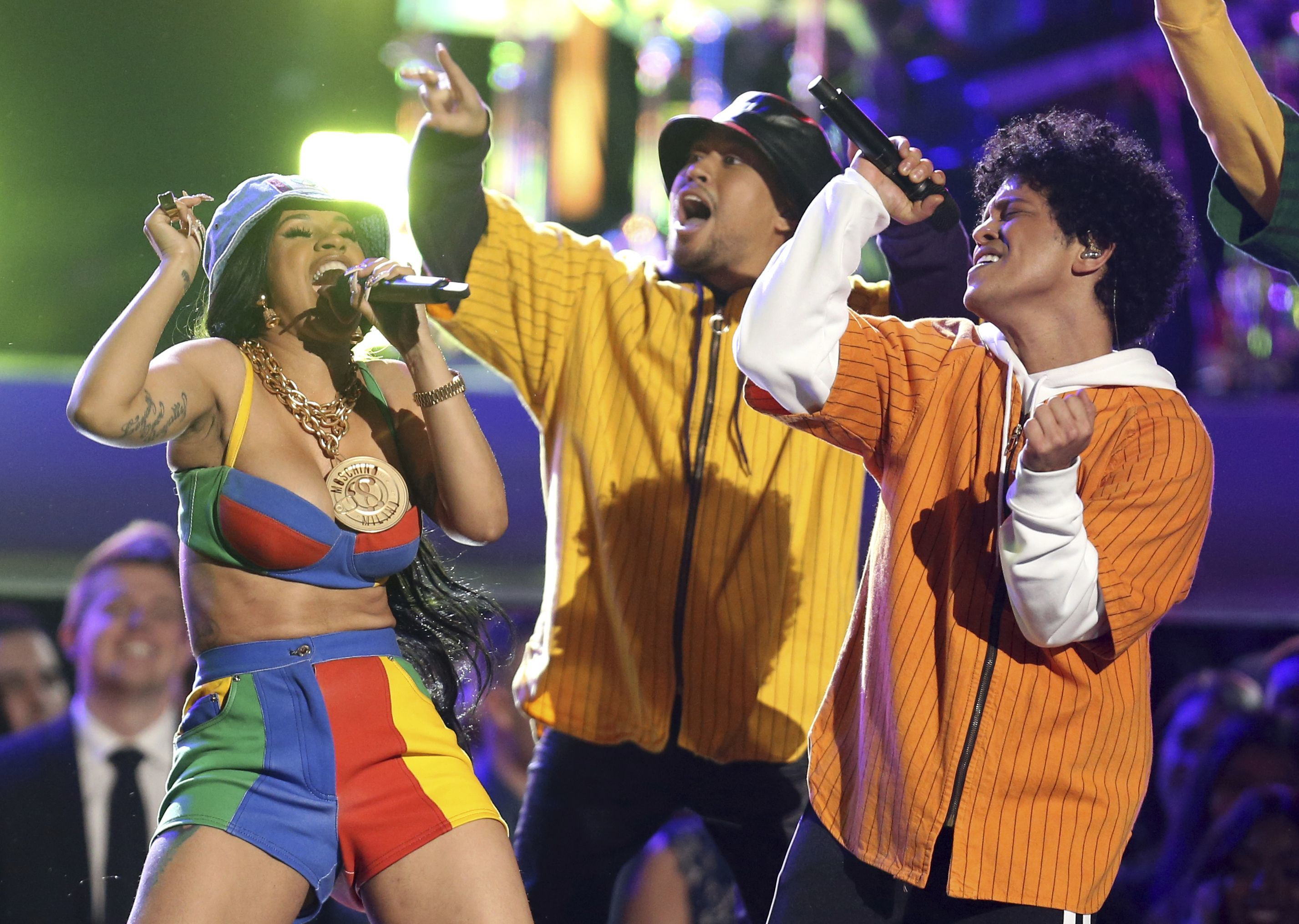 """Bruno Mars and Cardi B. perform """"Finesse"""" at the 60th Annual Grammy Awards at Madison Square Garden in New York City on Jan. 28, 2018."""
