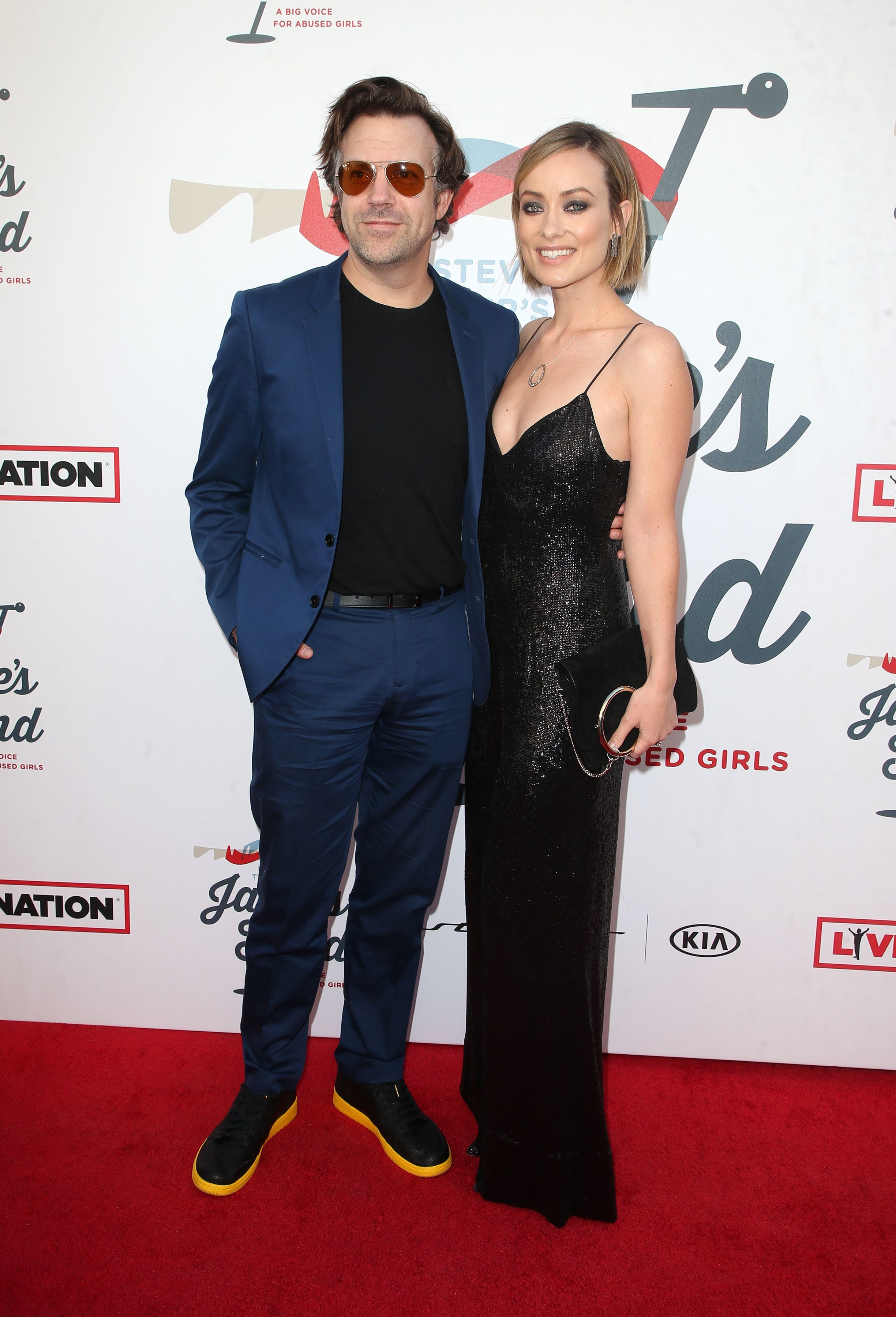Jason Sudeikis and Olivia Wilde attend the Janie's Fund annual Grammy Awards viewing party in Los Angeles on Jan. 28, 2018.
