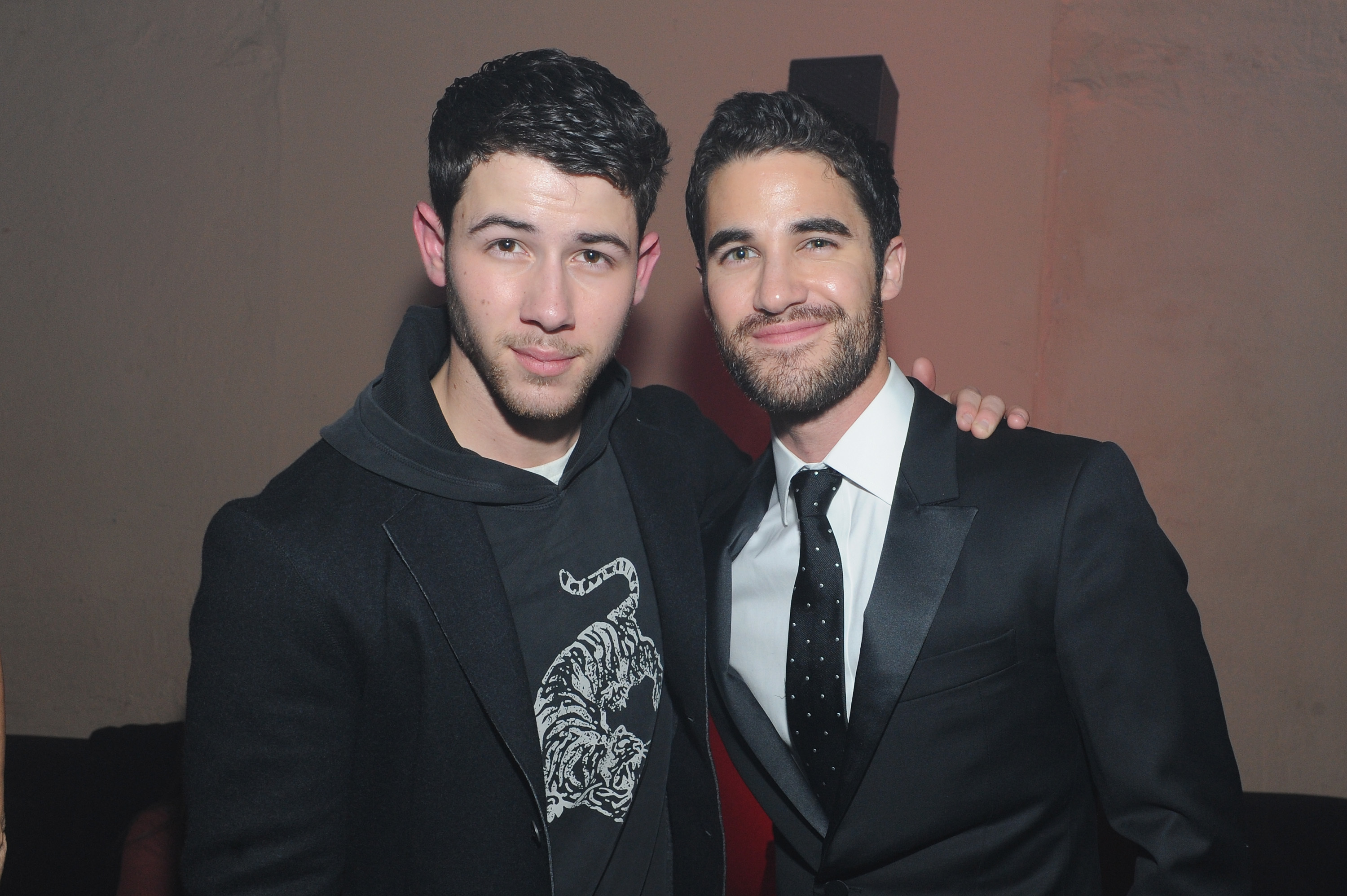 Nick Jonas and Darren Criss attend the John Varvatos x Nick Jonas launch party presented by Stillhouse Whiskey at the Angel Orensanz Foundation in New York City on Jan. 27, 2018.