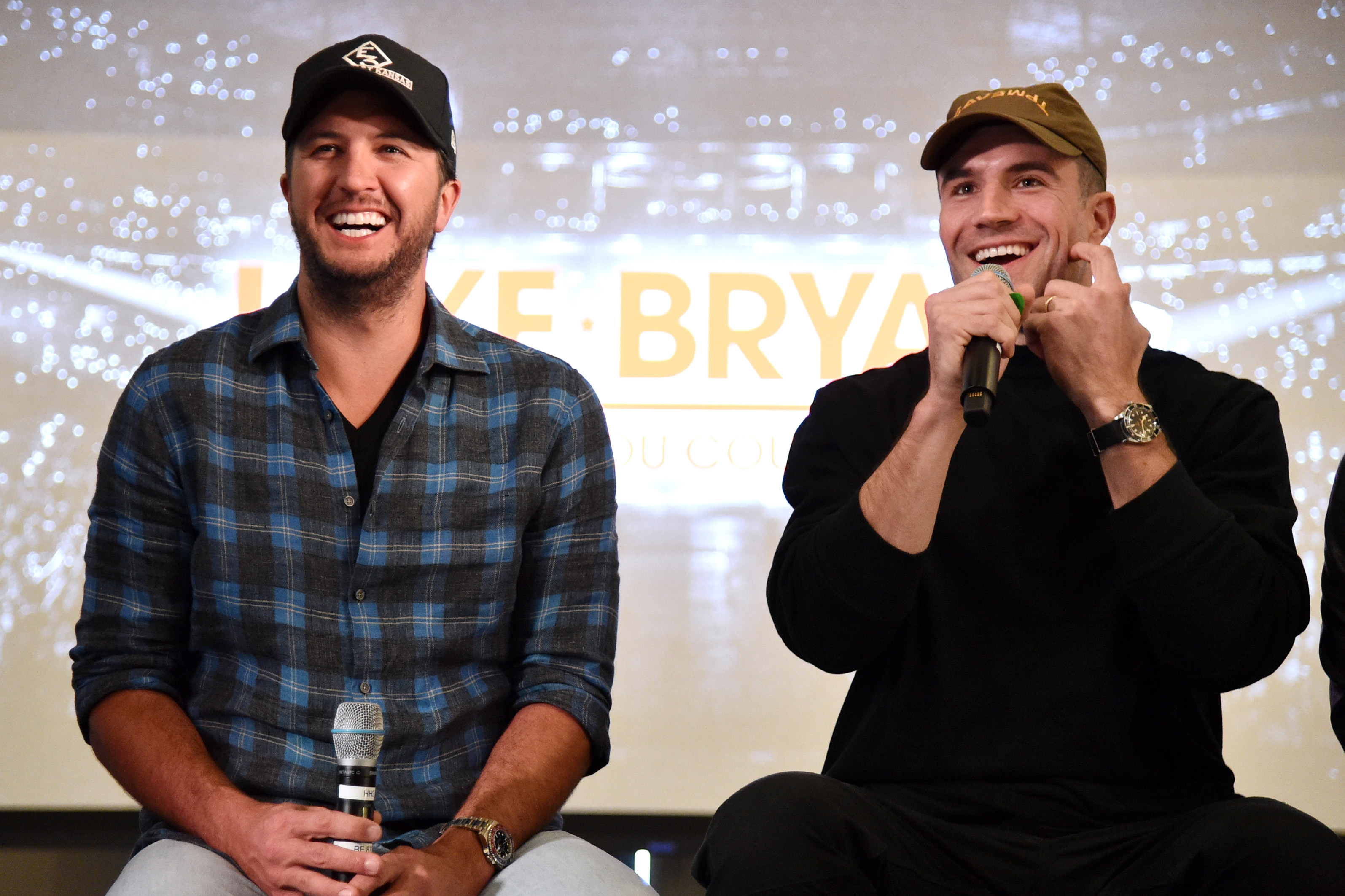 "Luke Bryan and Sam Hunt appear on stage at the announcement for the ""What Makes You Country"" tour, at WME Nashville on Jan. 30, 2018."