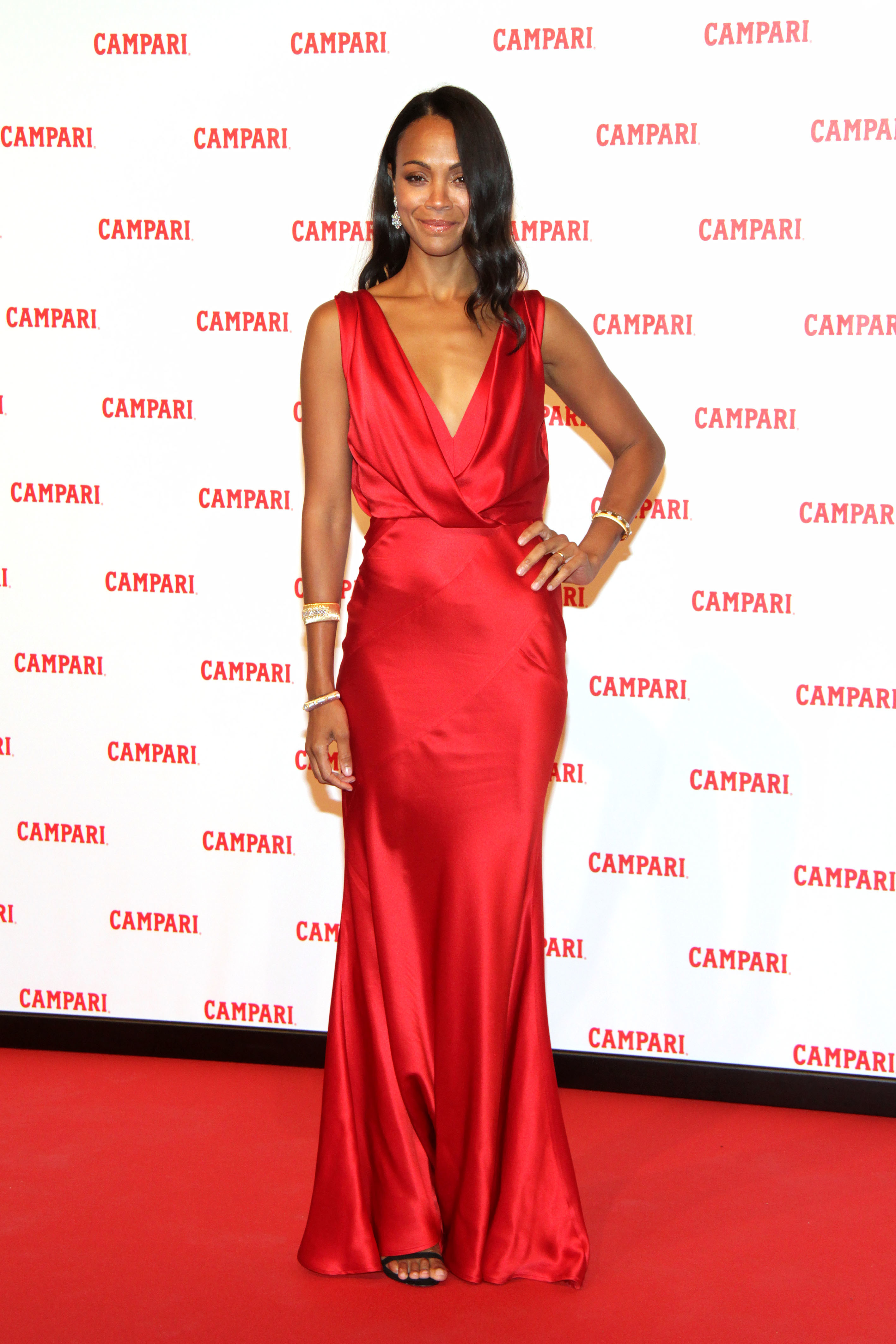"Zoe Saldana attends the Campari Red Diaries ""The Legend of Red Hand"" film premiere in Milan, Italy, on Jan. 30, 2018."