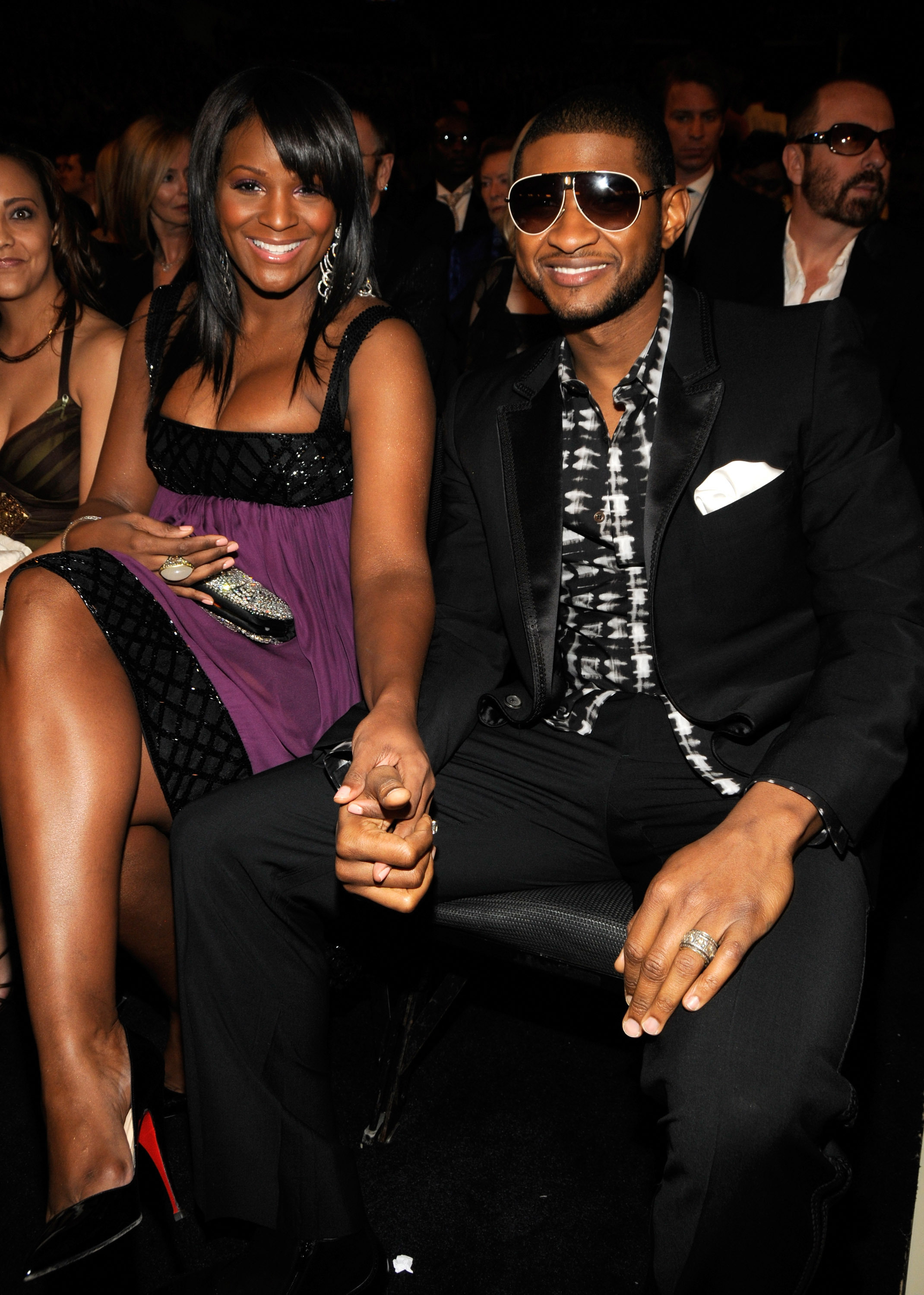 Tamika Foster and Usher at the 50th Annual GRAMMY Awards at the Staples Center in Los Angeles on Feb. 10, 2008.