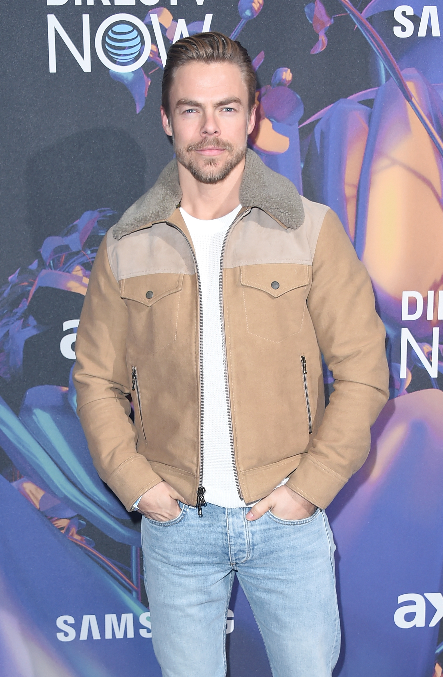 Derek Hough attends the 2018 DIRECTV NOW Super Saturday Night Concert at NOMADIC LIVE! at The Armory  in Minneapolis, Minnesota, on Feb. 3, 2018.