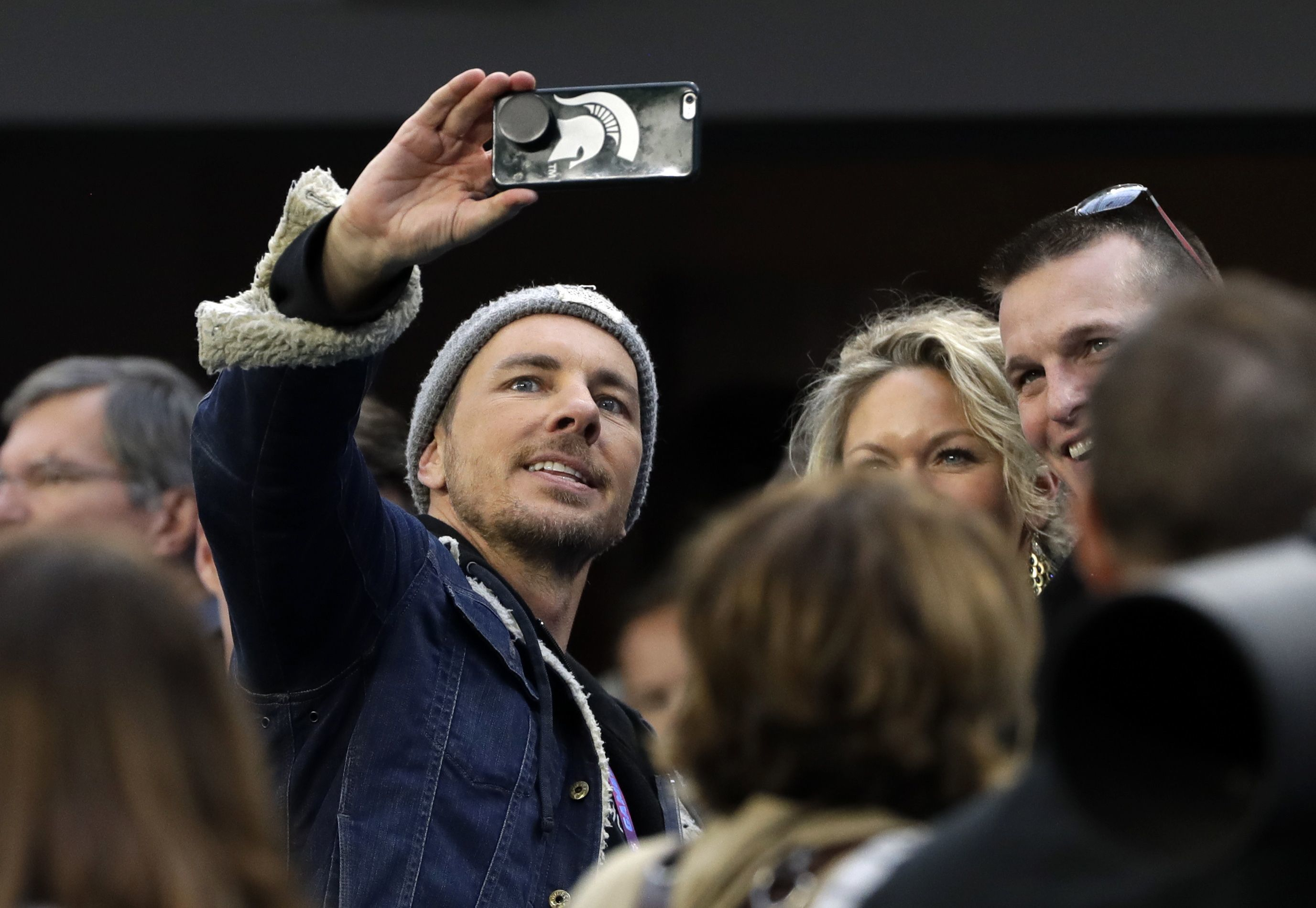 Dax Shepard takes selfie on the sideline, before the NFL Super Bowl 52 football game between the Philadelphia Eagles and the New England Patriots, in Minneapolis, Minnesota, on Feb. 4, 2018.