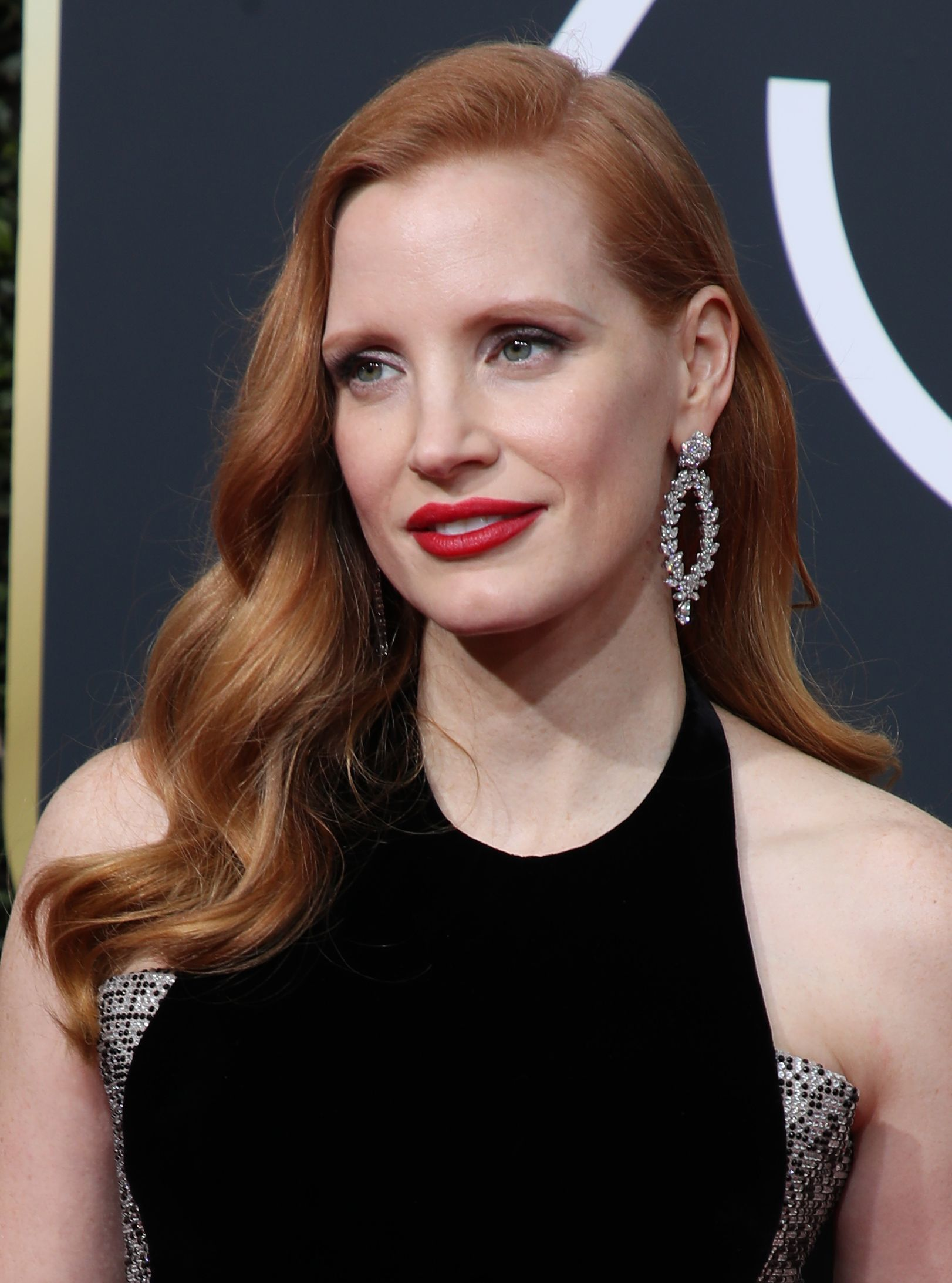 Jessica Chastain arrives at the 75th Annual Golden Globe Awards in Los Angeles on Jan. 7, 2018.