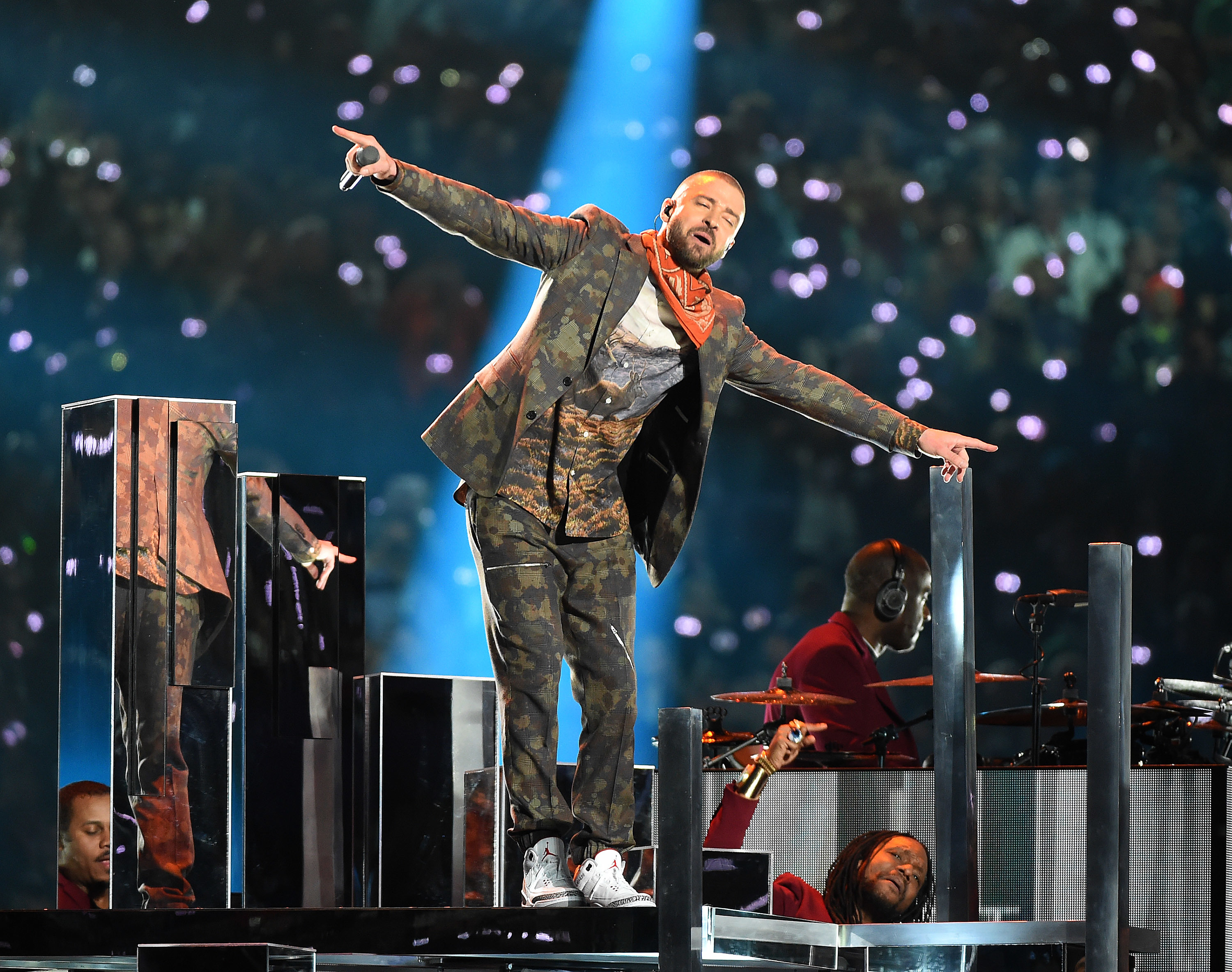 Justin Timberlake performs on the Pepsi Super Bowl Halftime Show at Super Bowl LII at  U.S. Bank Stadium in Minneapolis, Minnesota, on Feb. 4, 2018.