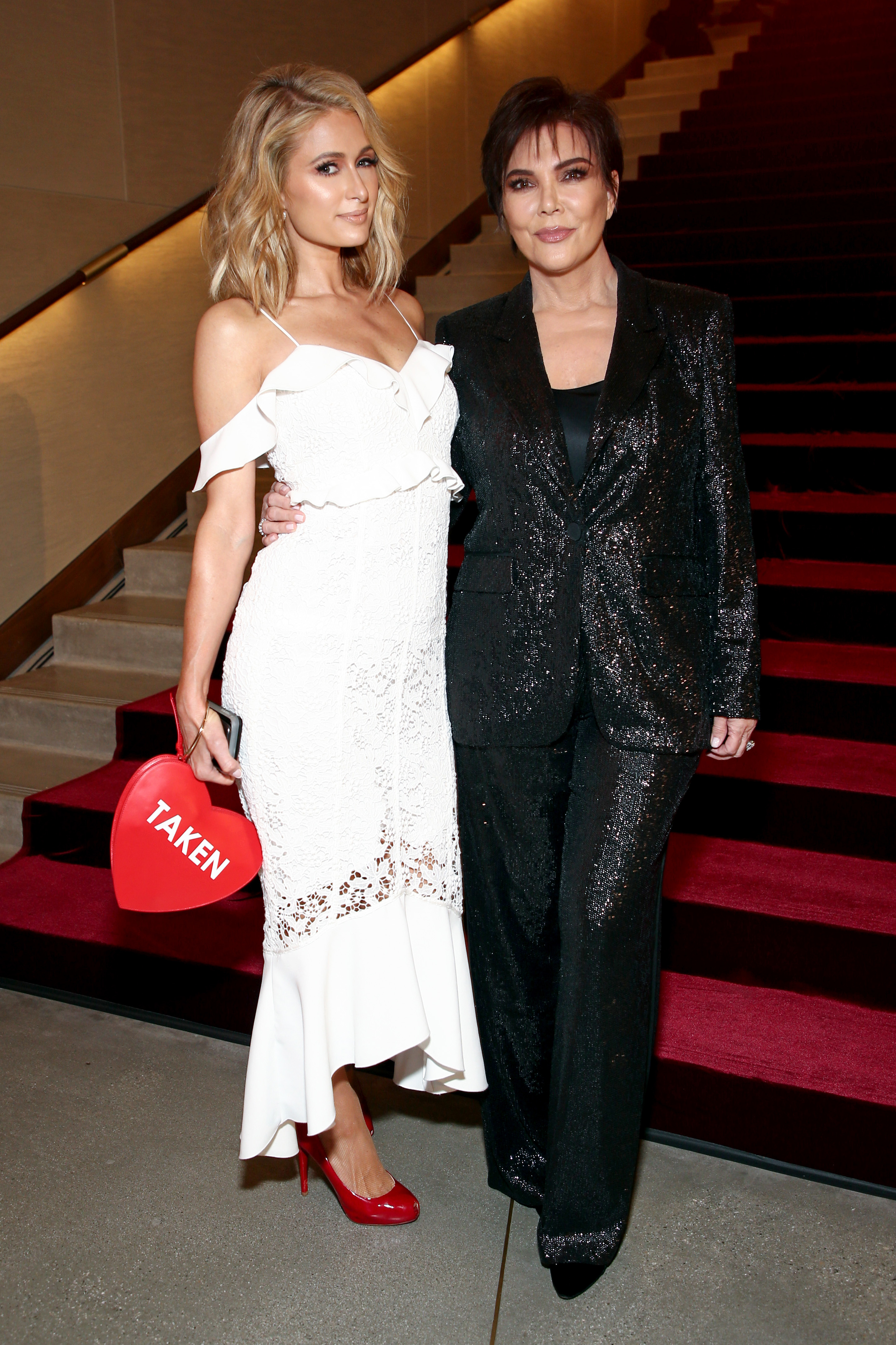Paris Hilton and Kris Jenner appear in the front row of the Rachel Zoe Fall 2018 Collection Presentation in Los Angeles on Feb. 5, 2018.