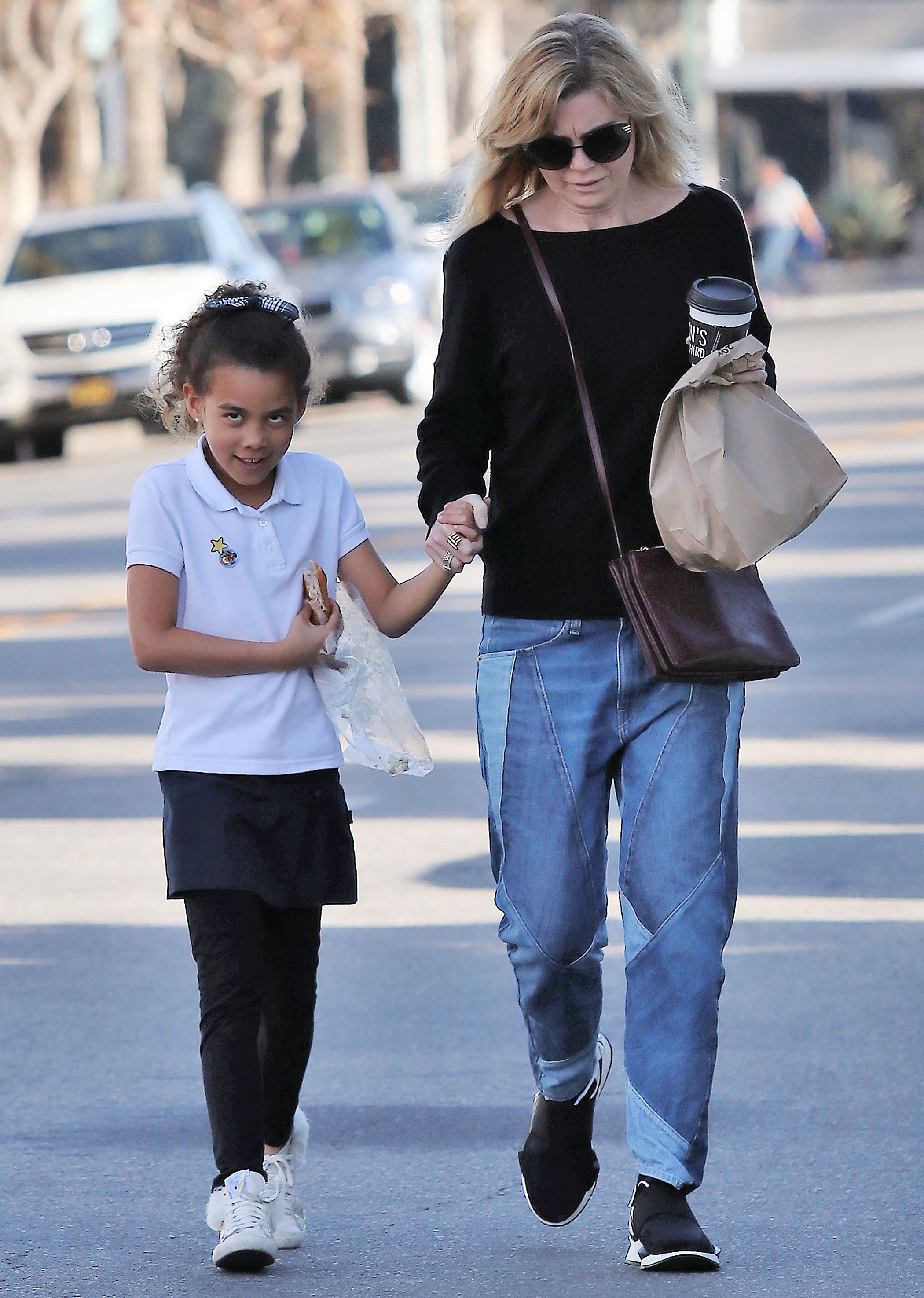 Ellen Pompeo and daughter Stella Ivery step out in Los Angeles on Jan. 25, 2018.
