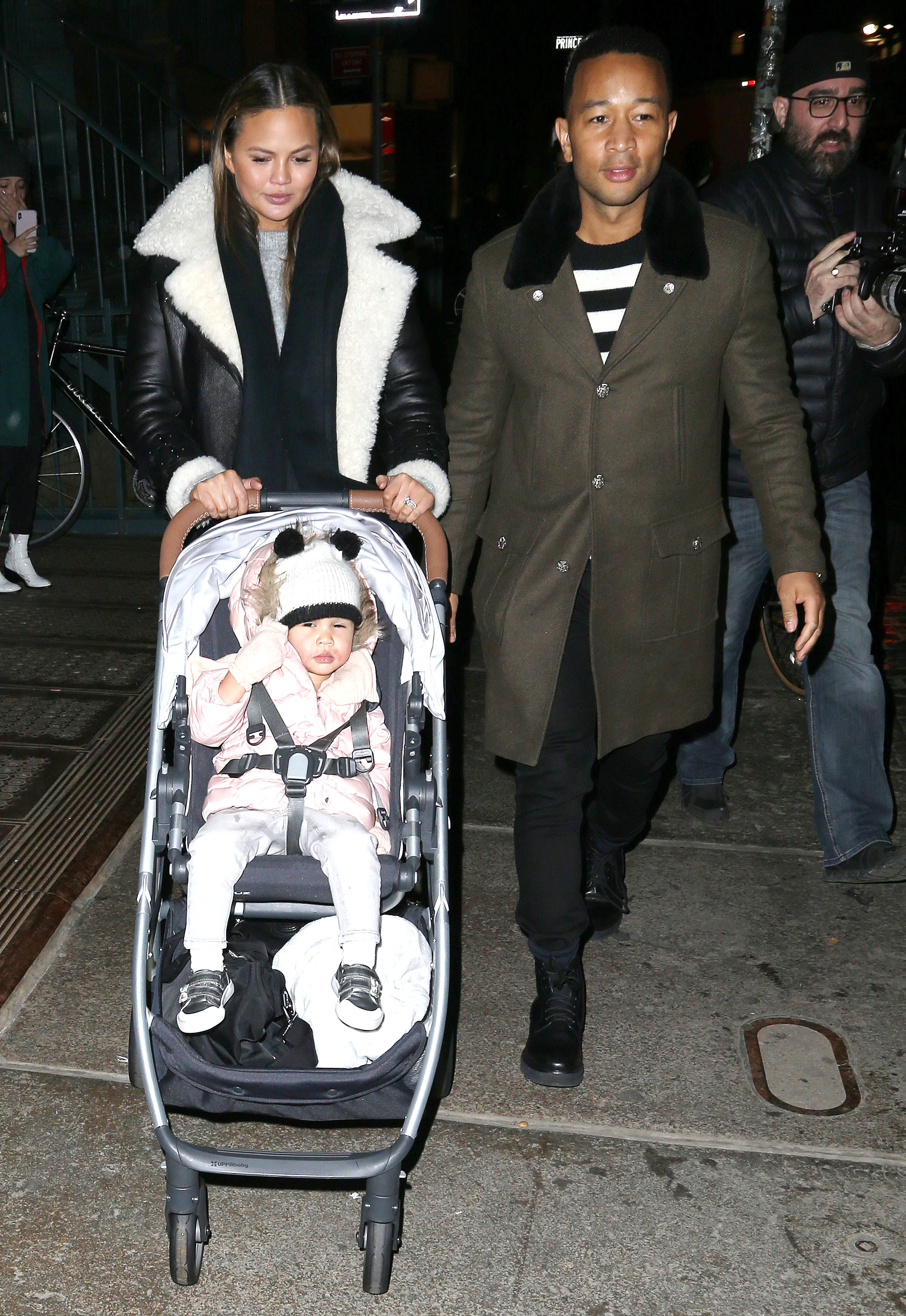 Chrissy Teigen and John Legend step out with their daughter, Luna Stephens, in New York City on Jan. 29, 2018.