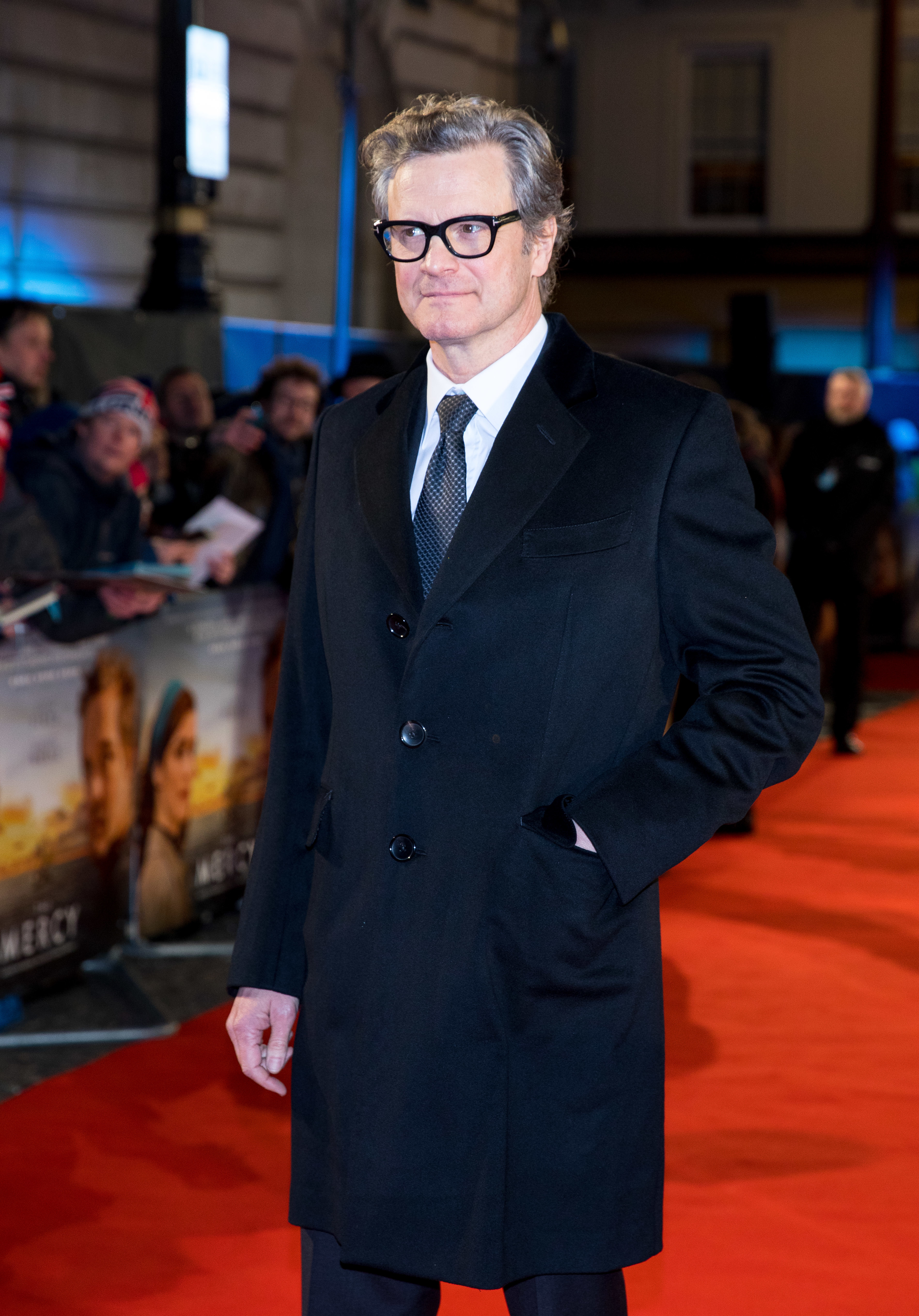 """Colin Firth attends the """"Mercy"""" premiere in London on Feb. 6, 2018 ."""
