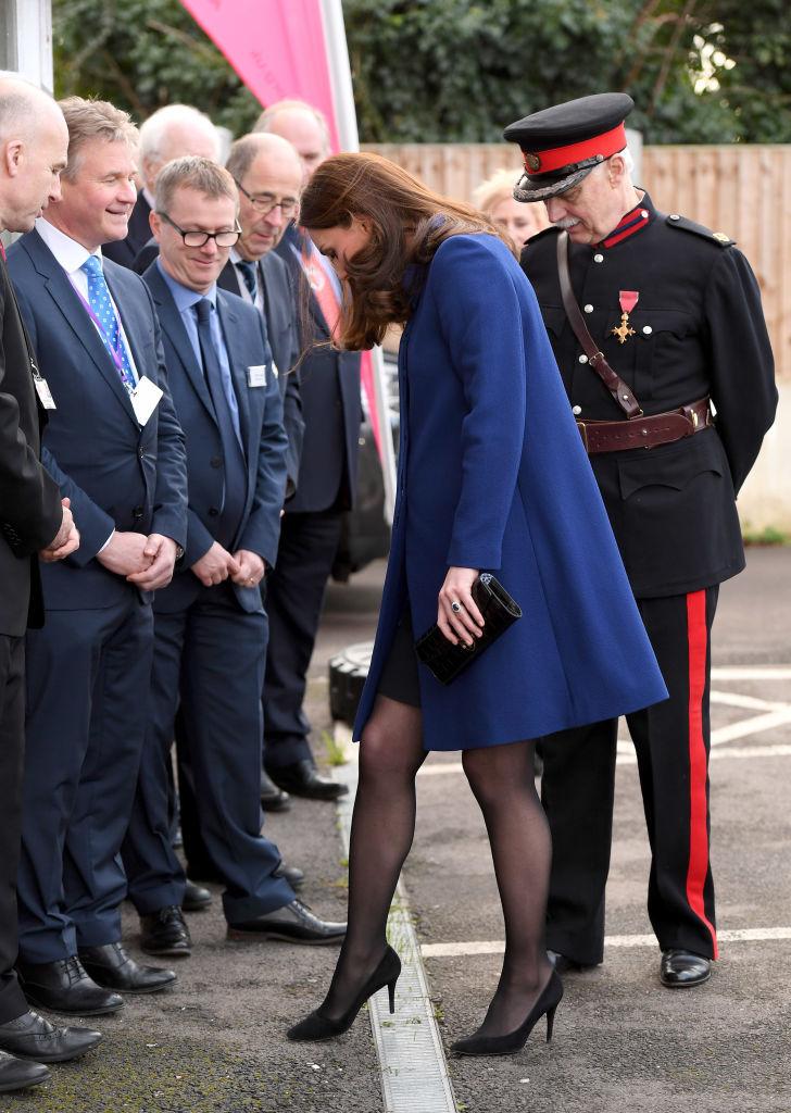 Duchess Kate cracks a joke after a stilleto related near fall