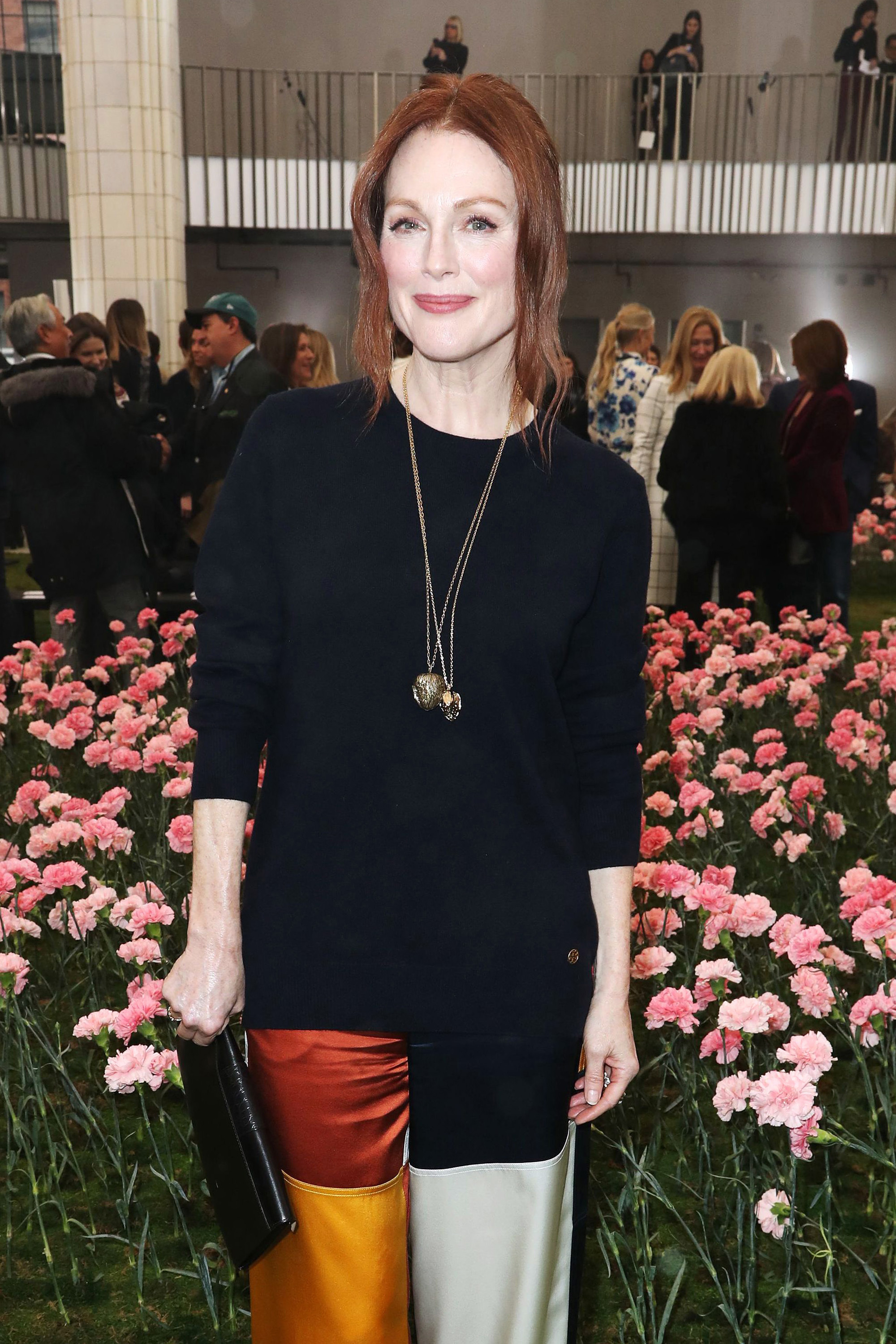 Julianne Moore appears at the Tory Burch show for Fall/Winter 2018 at New York Fashion Week on Feb. 9, 2018.