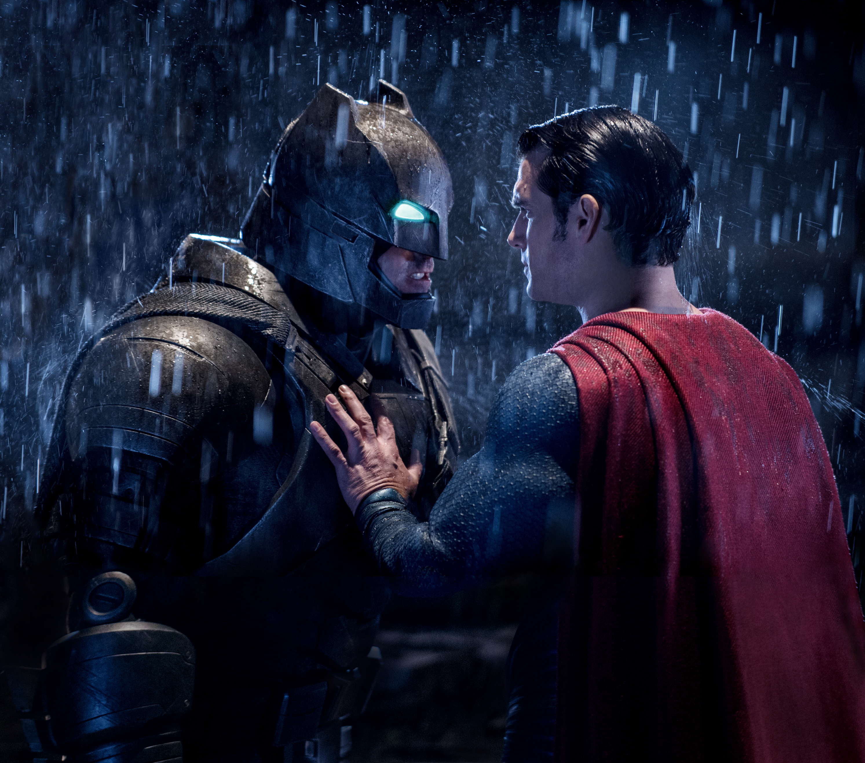 "Ben Affleck (as Batman) and Henry Cavill (as Superman) are shown on the set of ""Batman v Superman: Dawn of Justice"" in 2016."