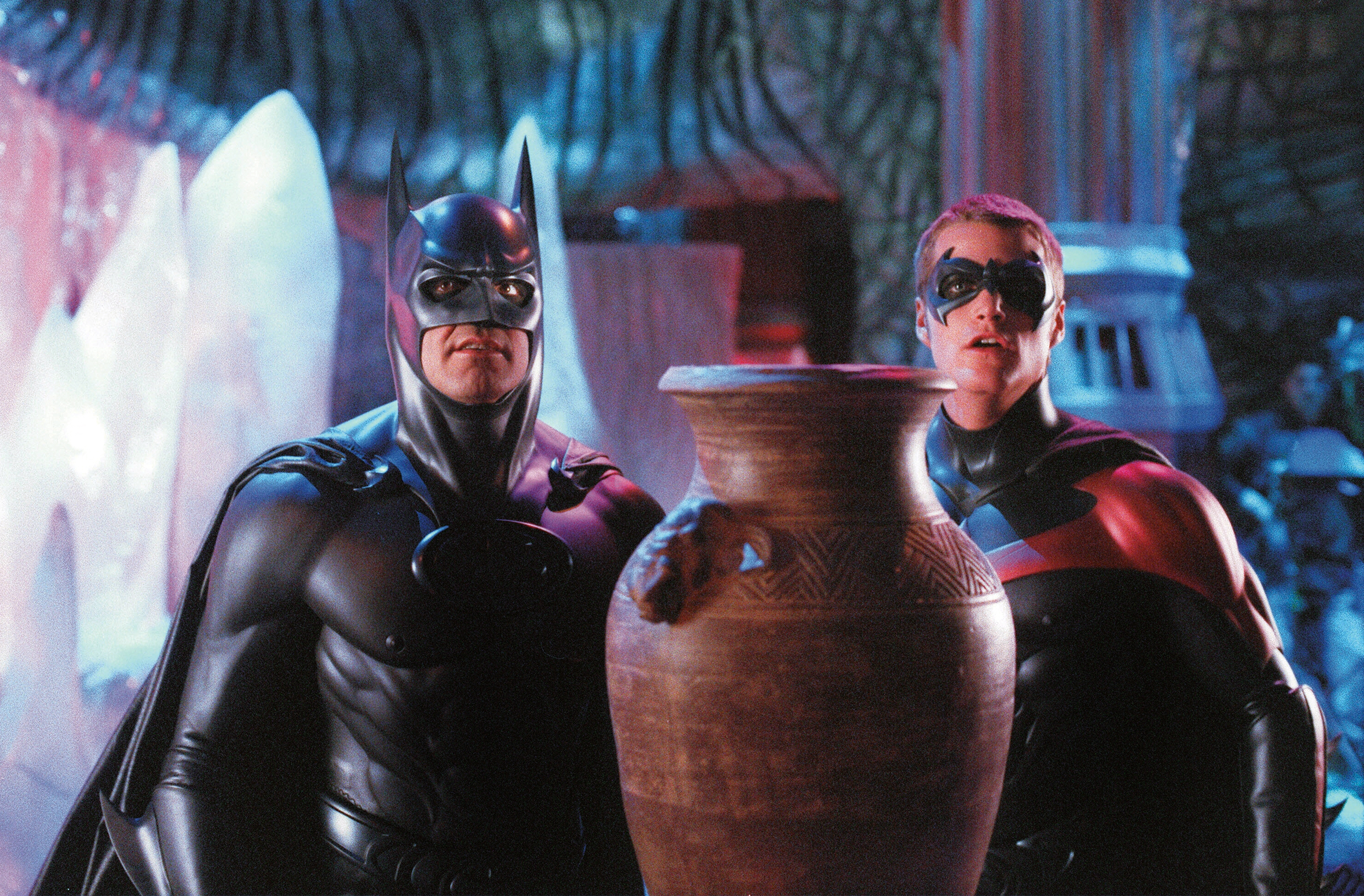 "George Clooney (as Batman) and Chris O'Donnell (as Robin) are shown on the set of ""Batman & Robin"" in 1997."