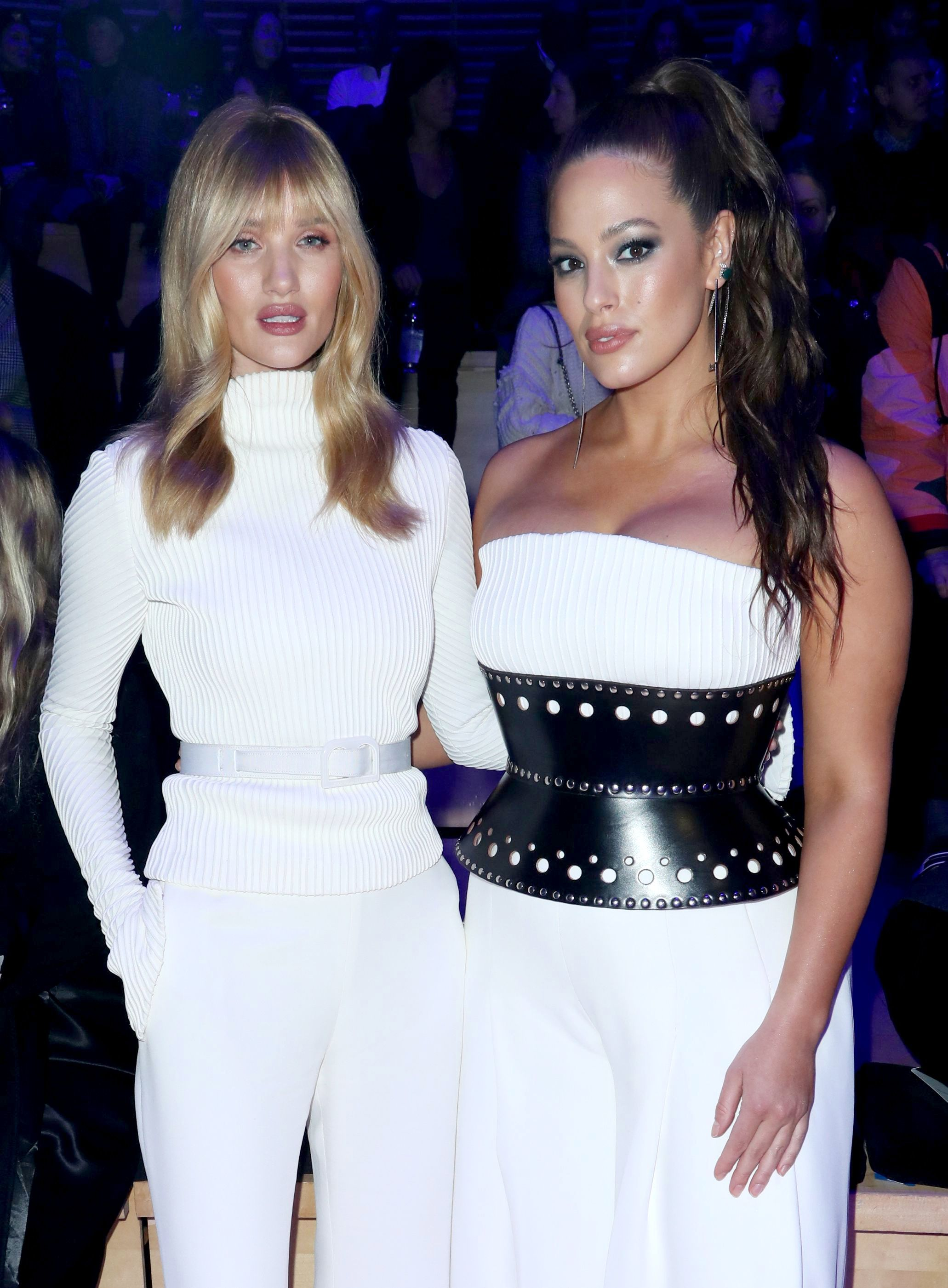 Rosie Huntington Whiteley and Ashley Graham appear in the front row of the Brandon Maxwell show for Fall/Winter 2018 at New York Fashion Week on Feb. 11, 2018.