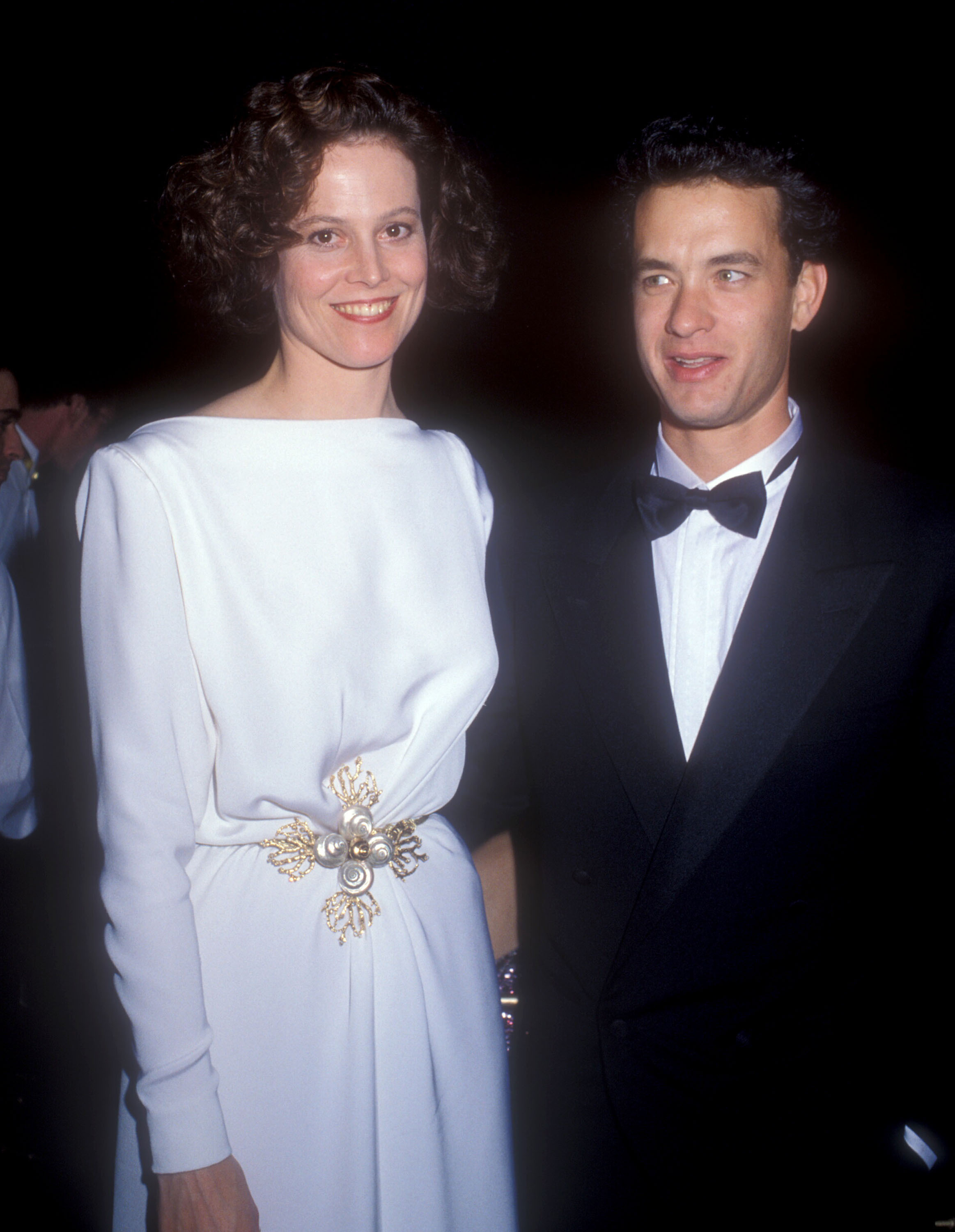 Sigourney Weaver and Tom Hanks pose at the 61st annual Academy Awards in Los Angeles on March 28, 1989.