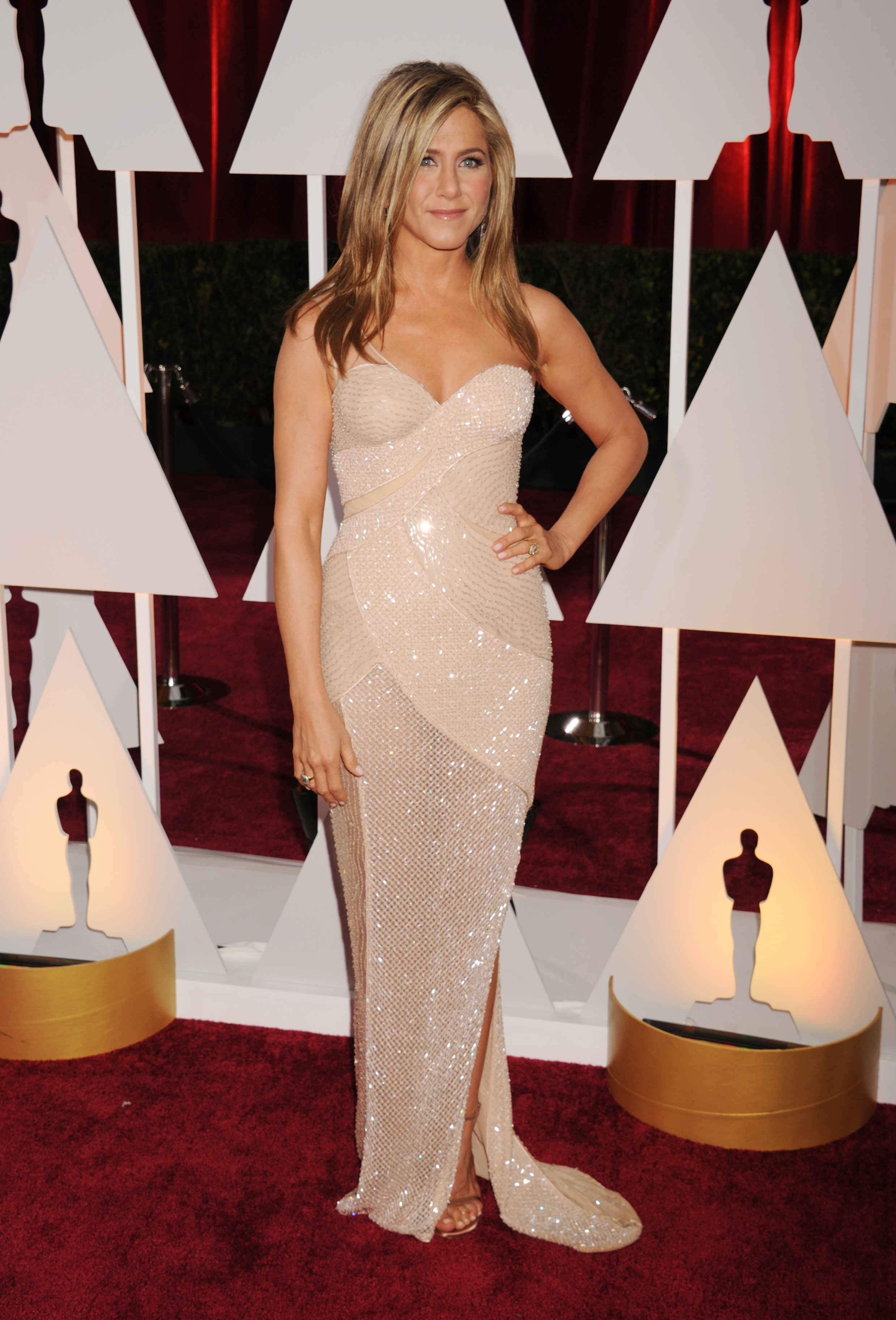 Jennifer Aniston arrives at the 87th Annual Academy Awards at Hollywood & Highland Center in Hollywood on Feb 22, 2015.