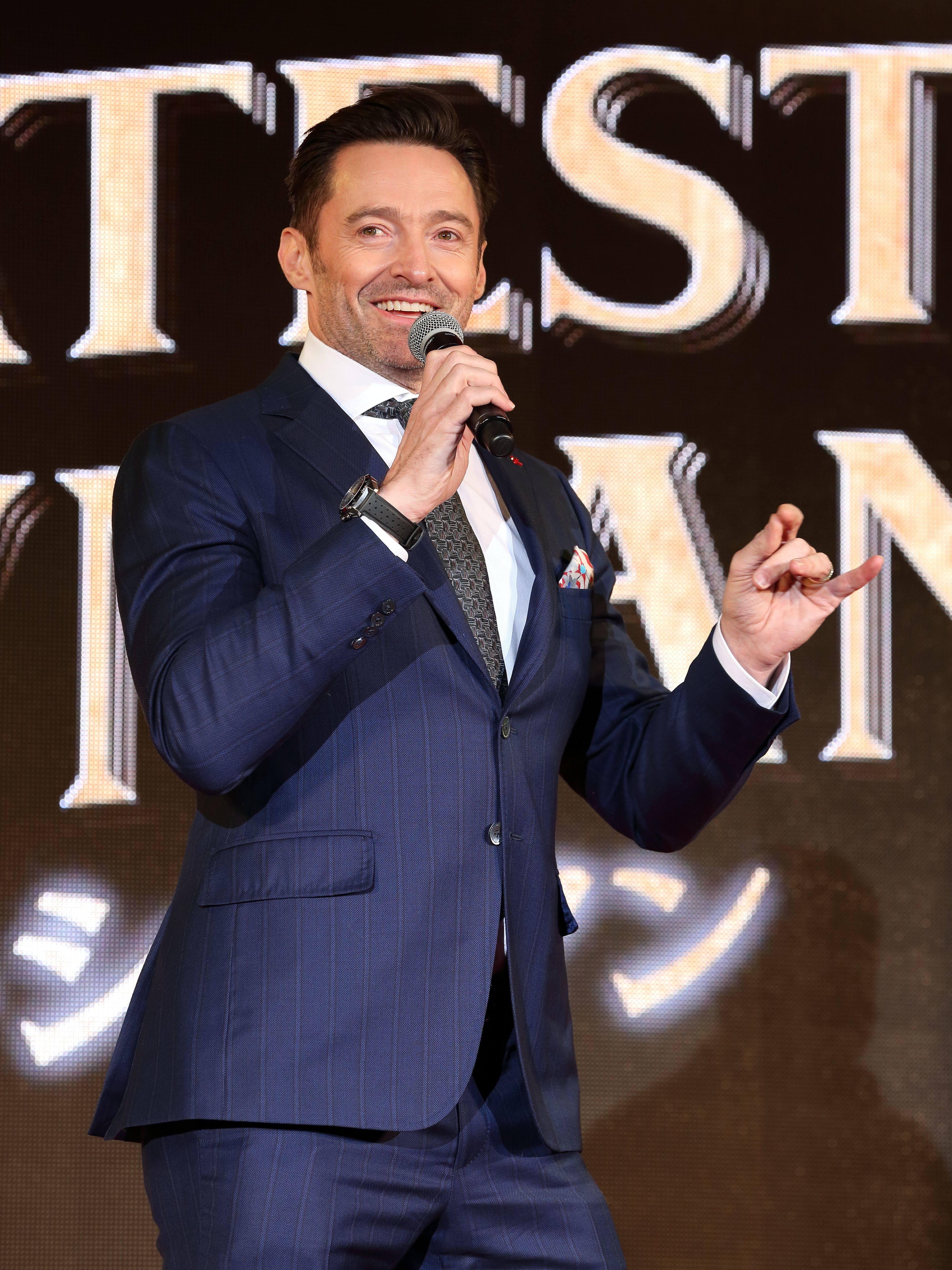 "Hugh Jackman attends ""The Greatest Showman"" photocall in Tokyo, Japan, on Feb. 13, 2018."