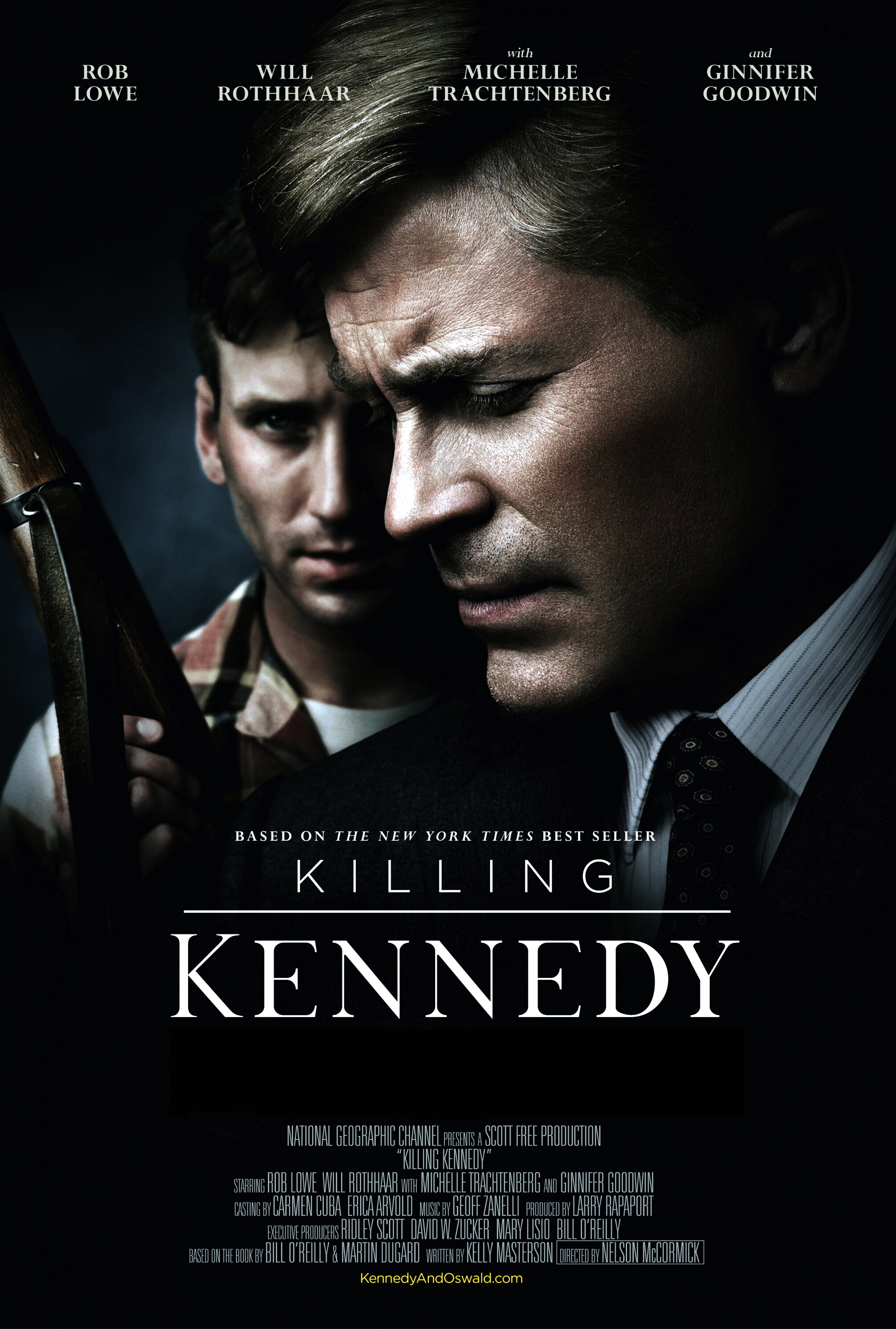 "Rob Lowe and Will Rothhaar are pictured on a poster for ""Killing Kennedy"" in 2013."