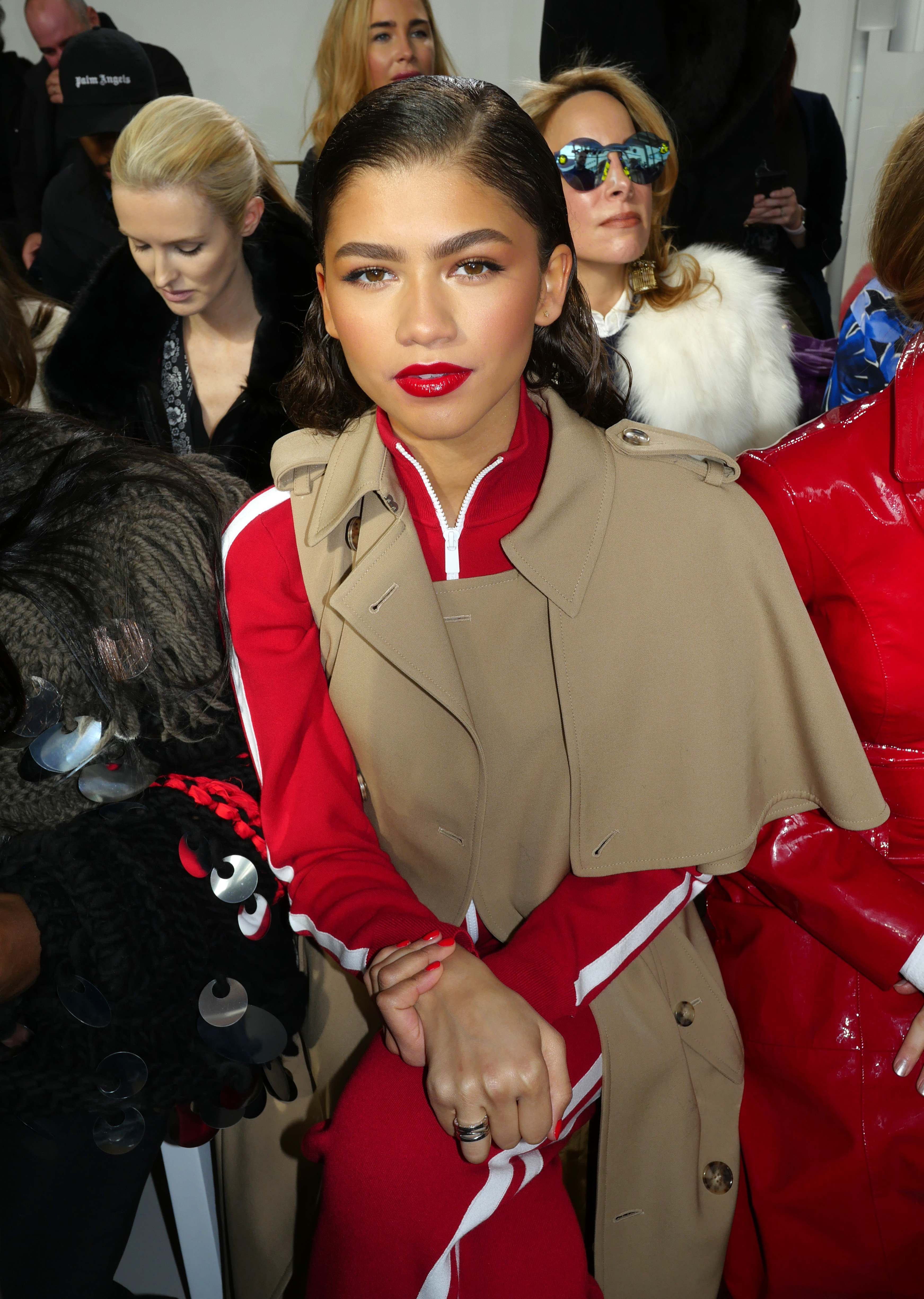 Zendaya appears in the front row of the Michael Kors show for Fall/Winter 2018 at New York Fashion Week on Feb. 14, 2018.