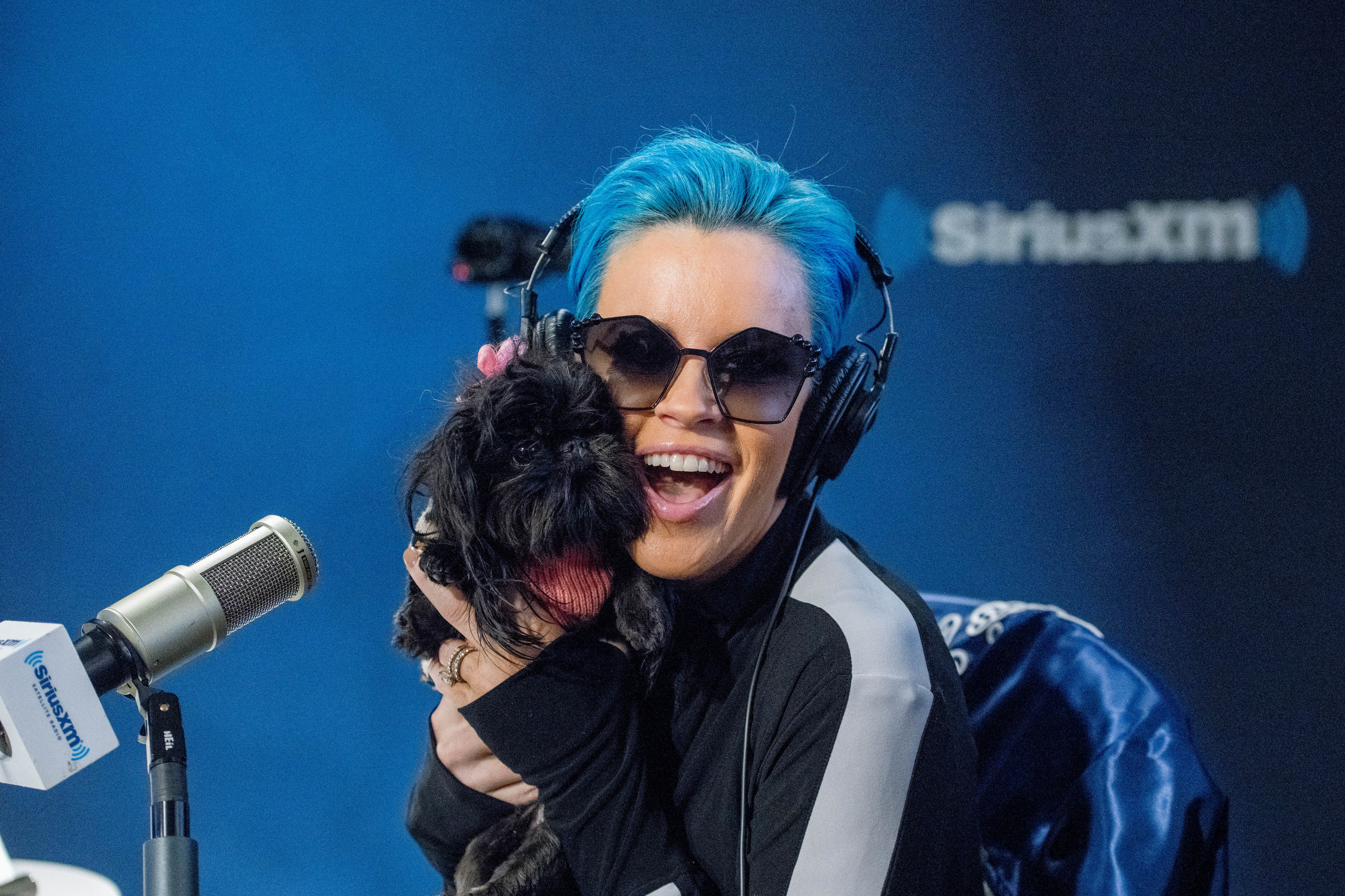 Jenny McCarthy with her dog D.J. hosts the Jenny McCarthy show at SiriusXM Studios in New York City on Feb.14, 2018.