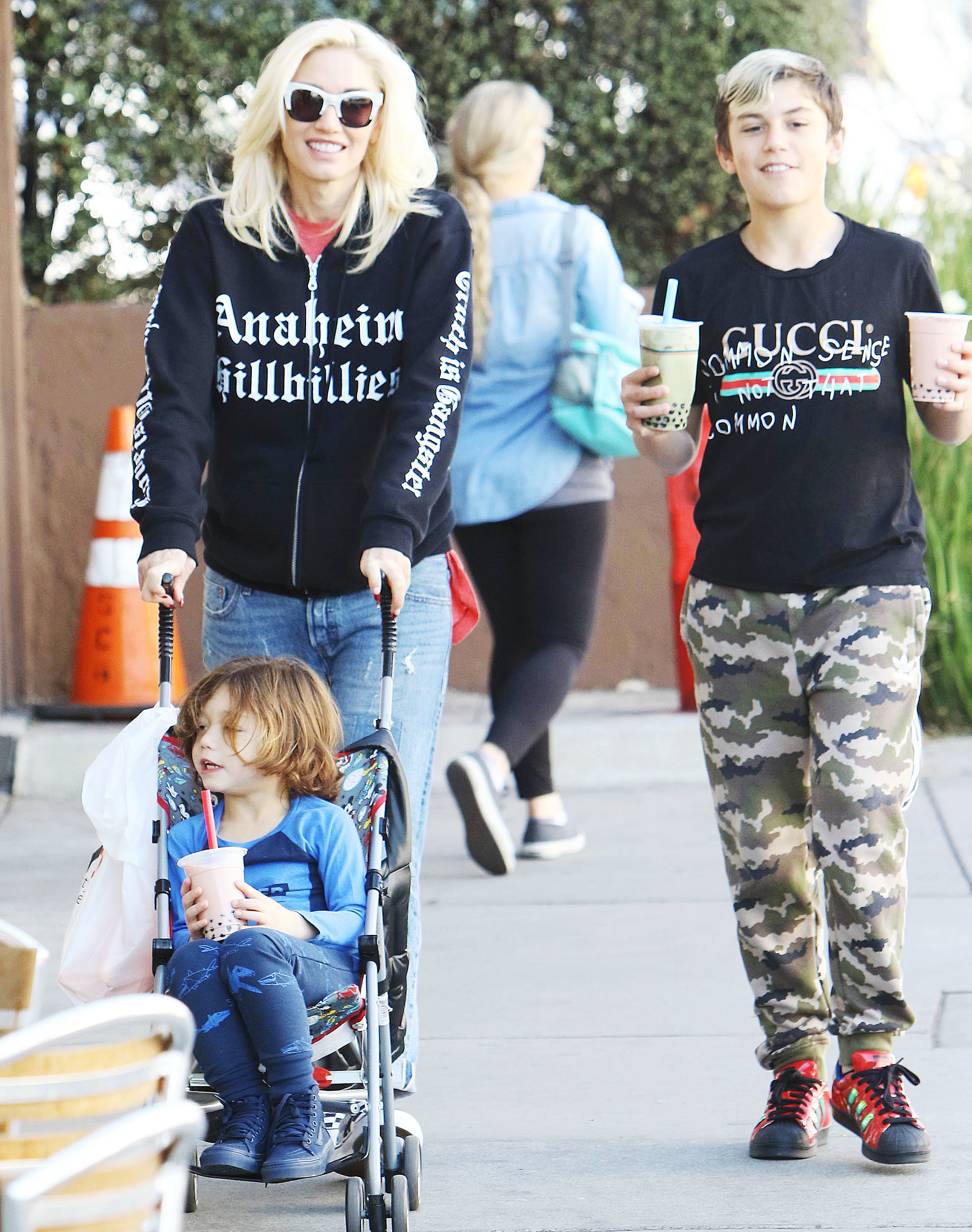 Gwen Stefani, Kingston Rossdale, and Apollo Rossdale are spotted out in Los Angeles on Feb. 15, 2018.