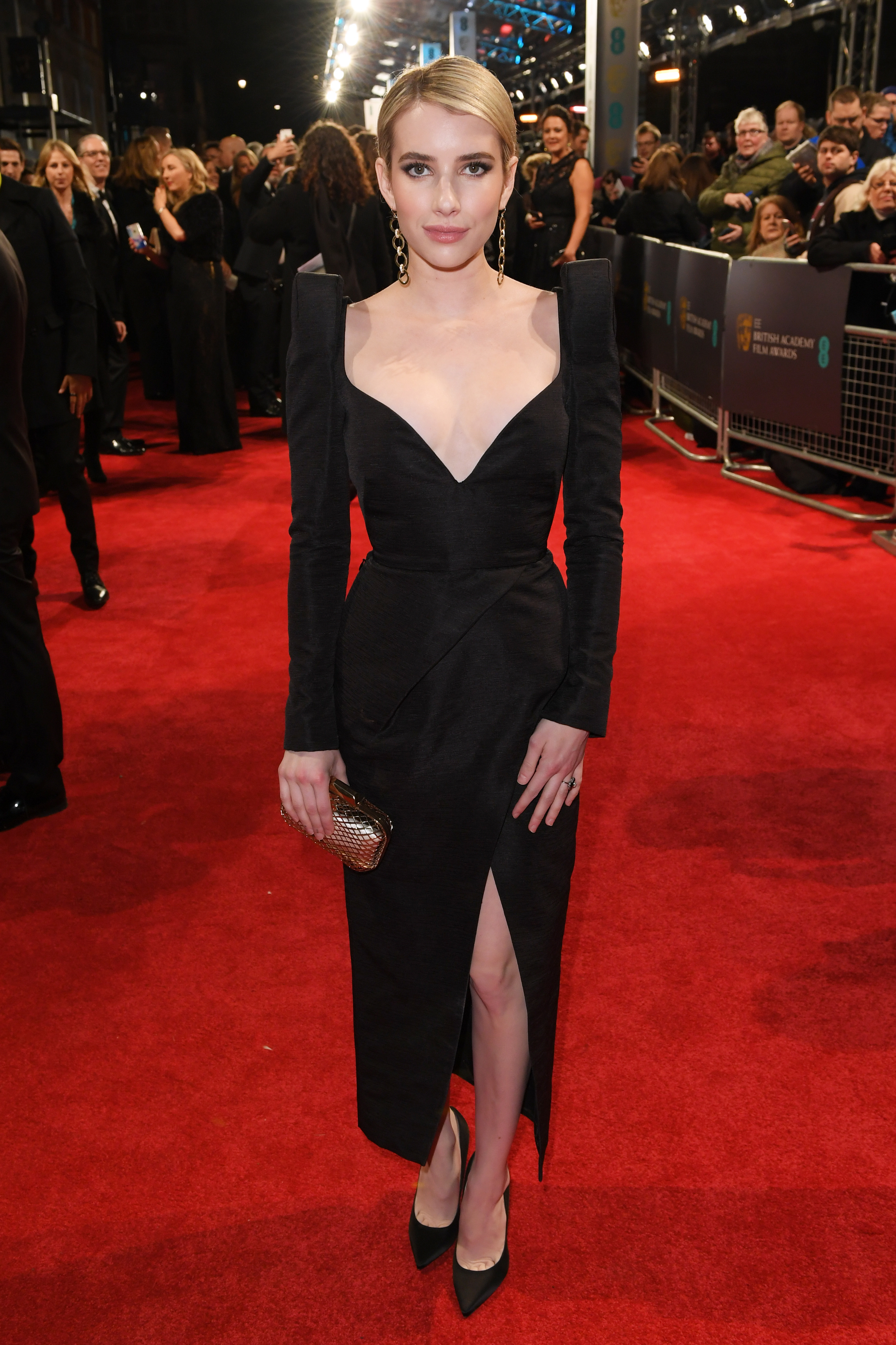 Emma Roberts arrives at the 71st EE British Academy Film Awards at the Royal Albert Hall in London on Feb. 18, 2018.