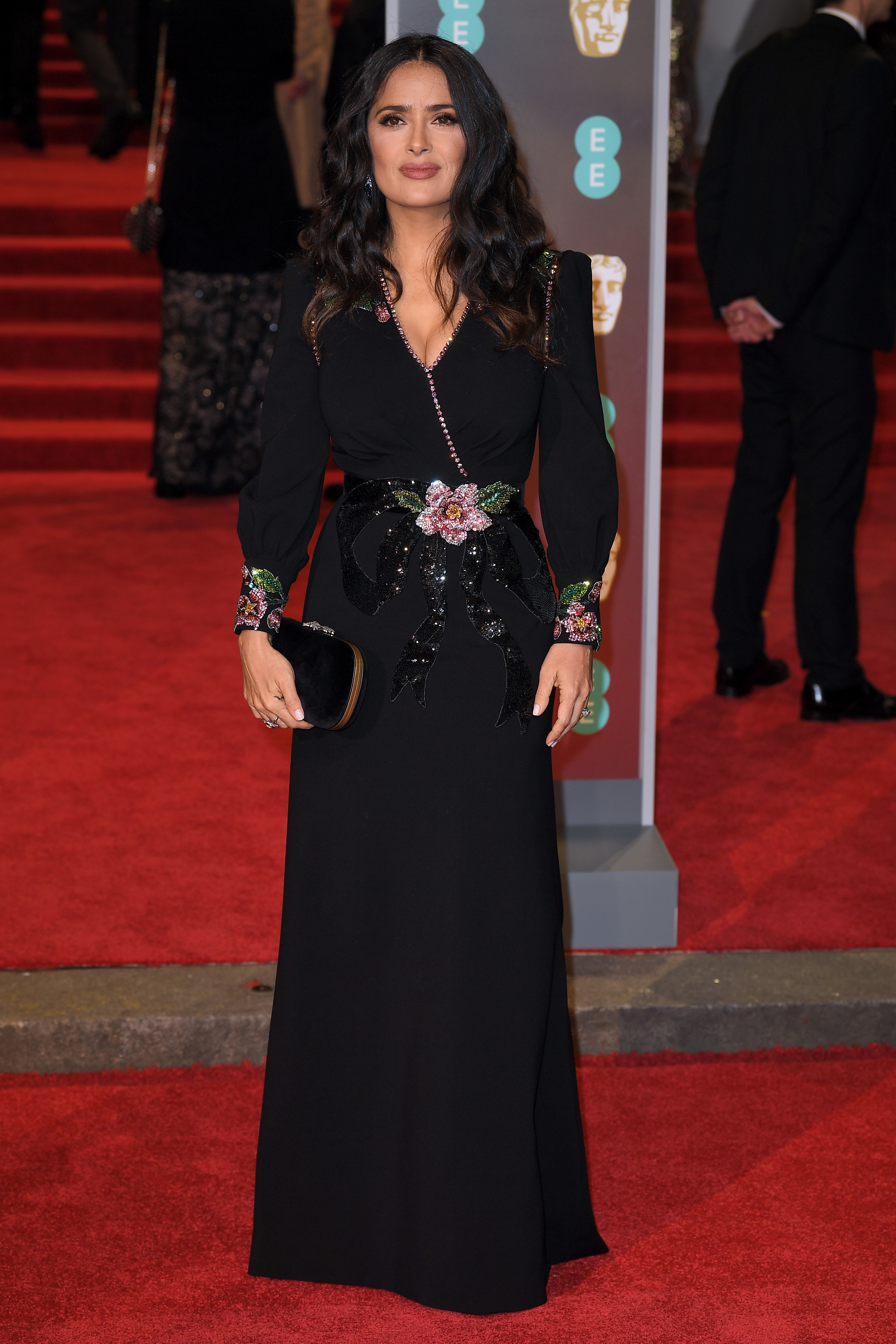 Salma Hayek arrives at the 71st EE British Academy Film Awards at the Royal Albert Hall in London on Feb. 18, 2018.